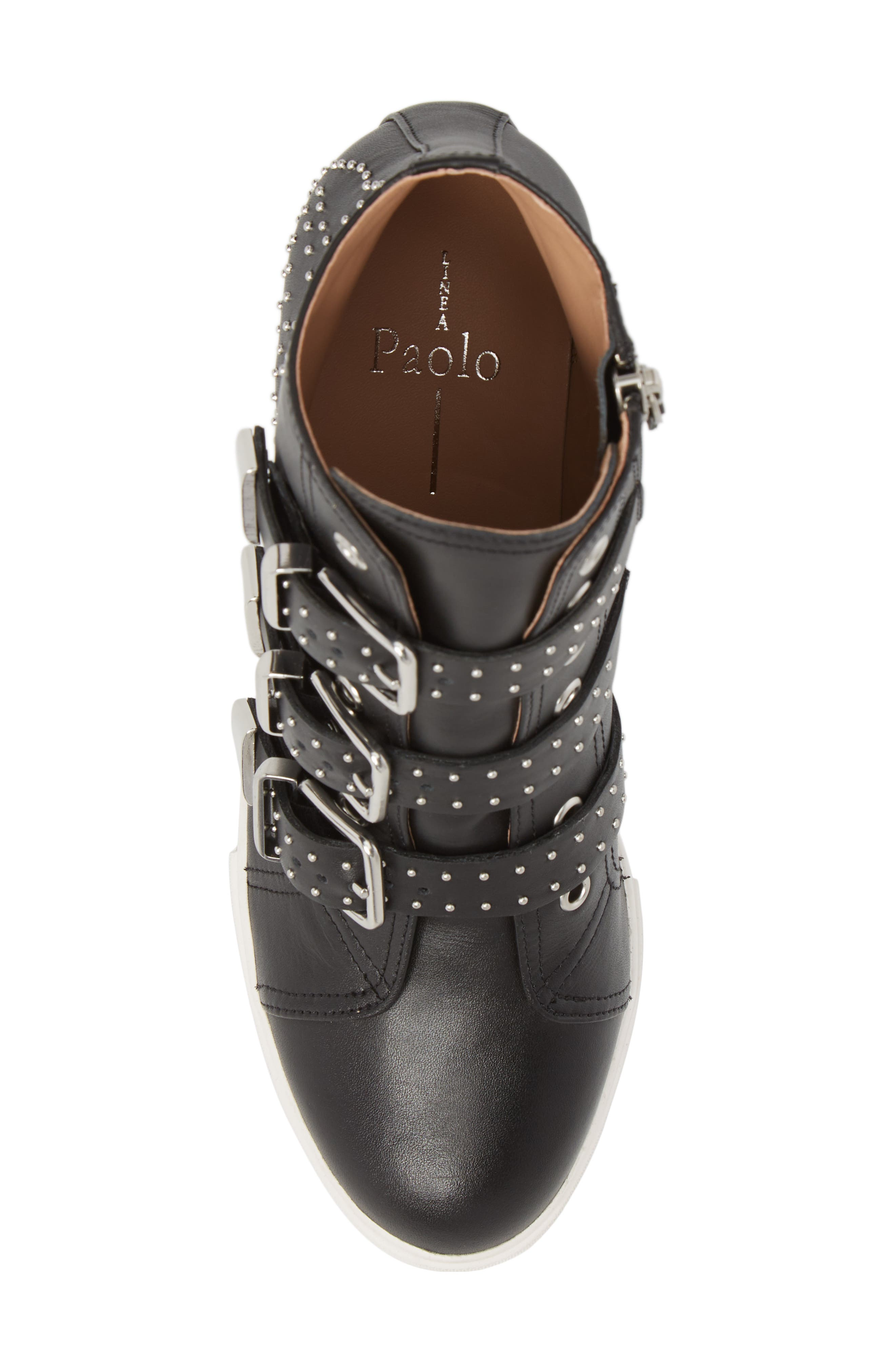 LINEA PAOLO, Fawn Wedge Sneaker, Alternate thumbnail 5, color, BLACK LEATHER
