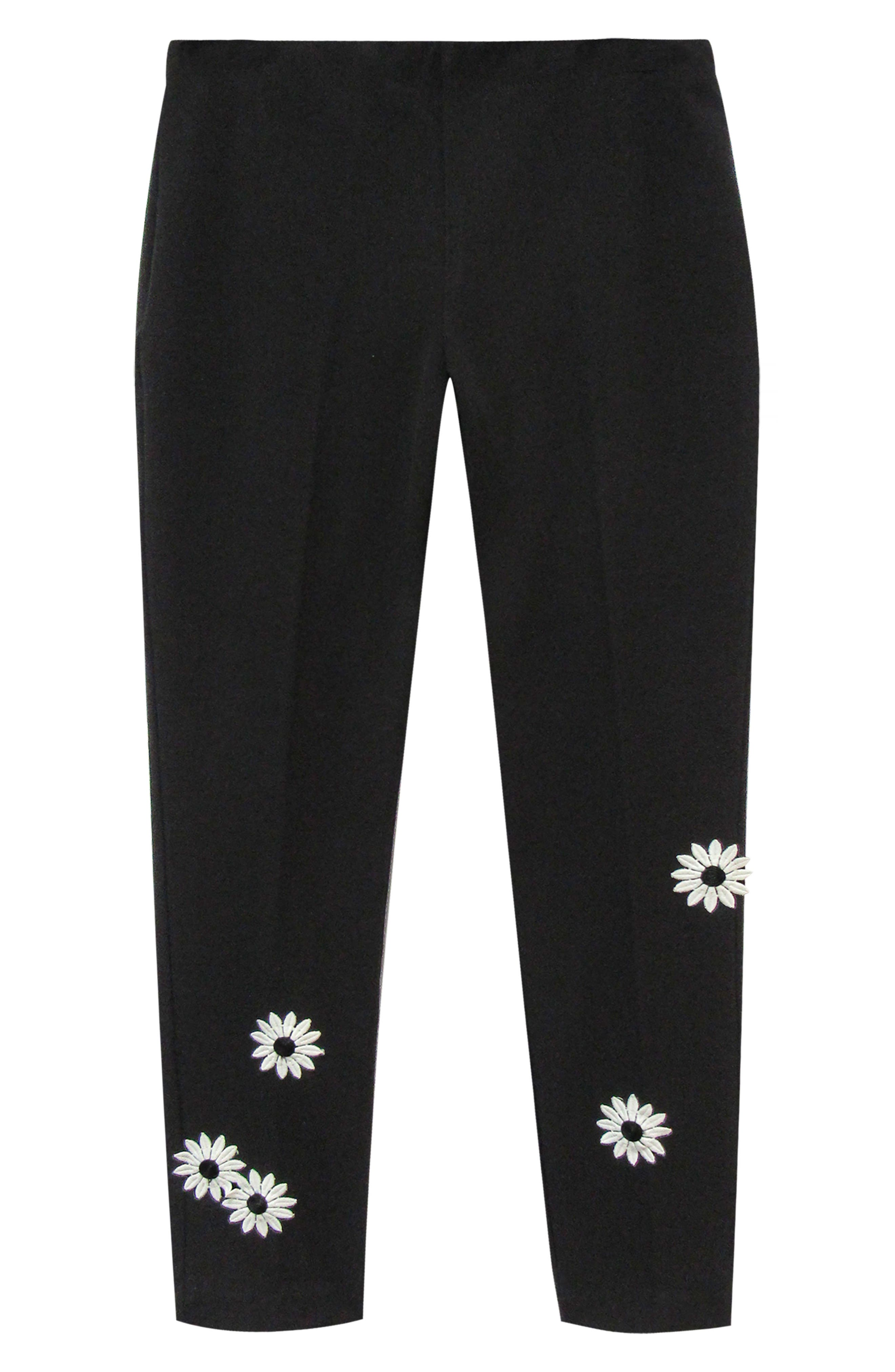 KAREN KANE, Piper Daisy Ankle Pants, Alternate thumbnail 3, color, BLACK