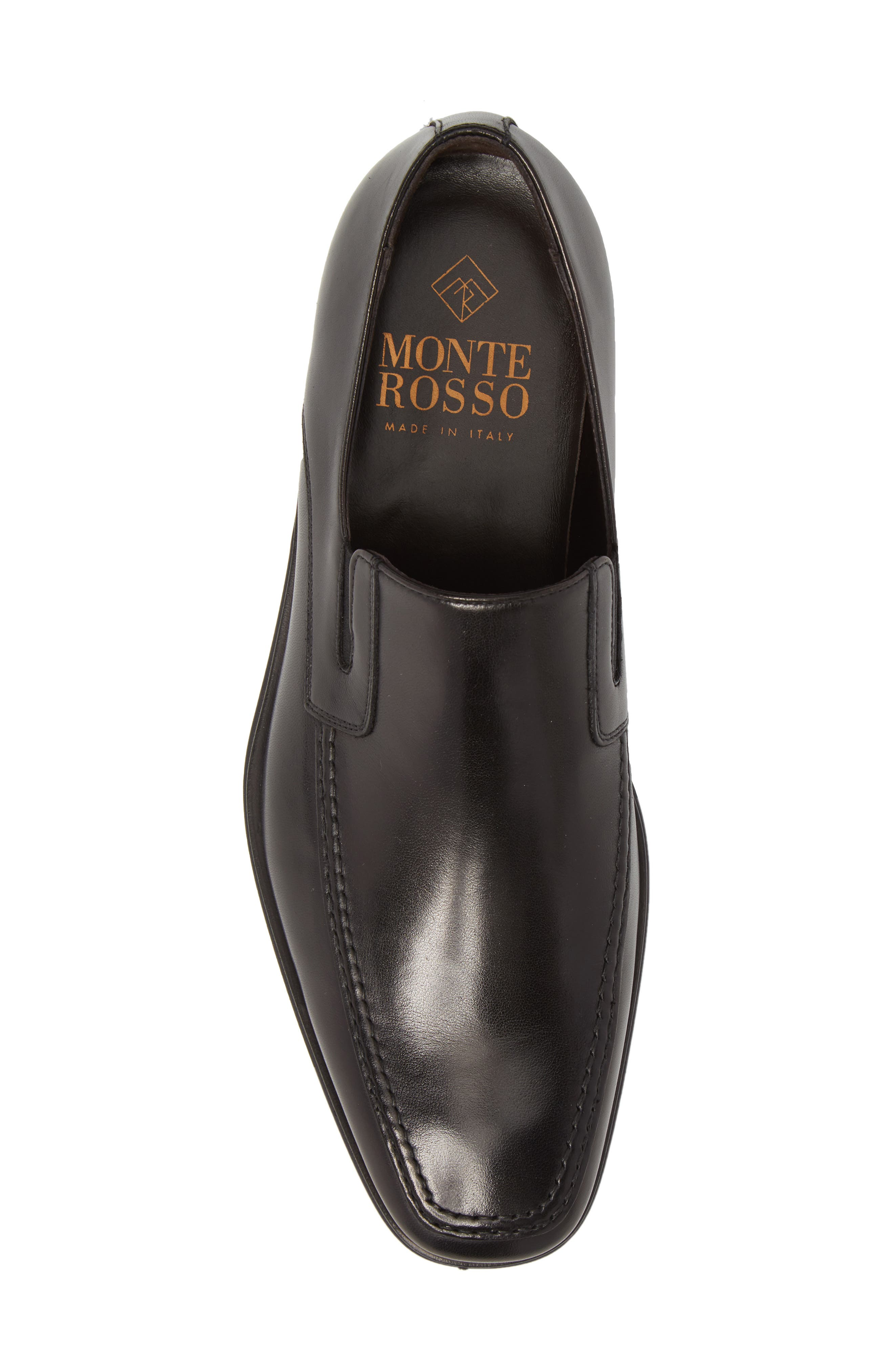 MONTE ROSSO, Lucca Nappa Leather Loafer, Alternate thumbnail 5, color, BLACK