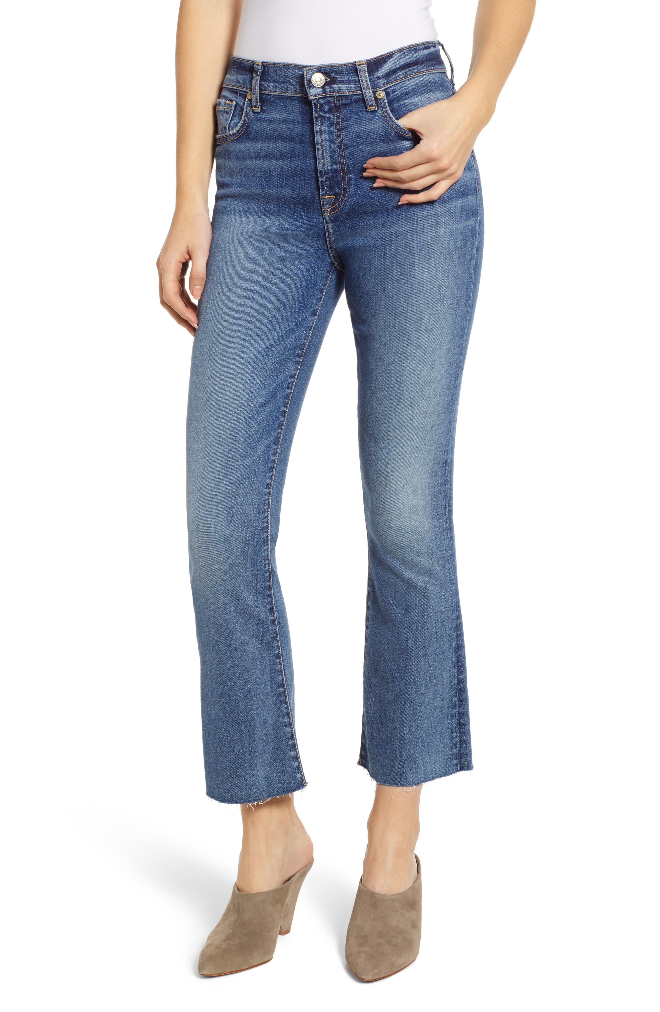 7 FOR ALL MANKIND<SUP>®</SUP>, High Waist Slim Crop Flare Jeans, Main thumbnail 1, color, CANYON RANCH