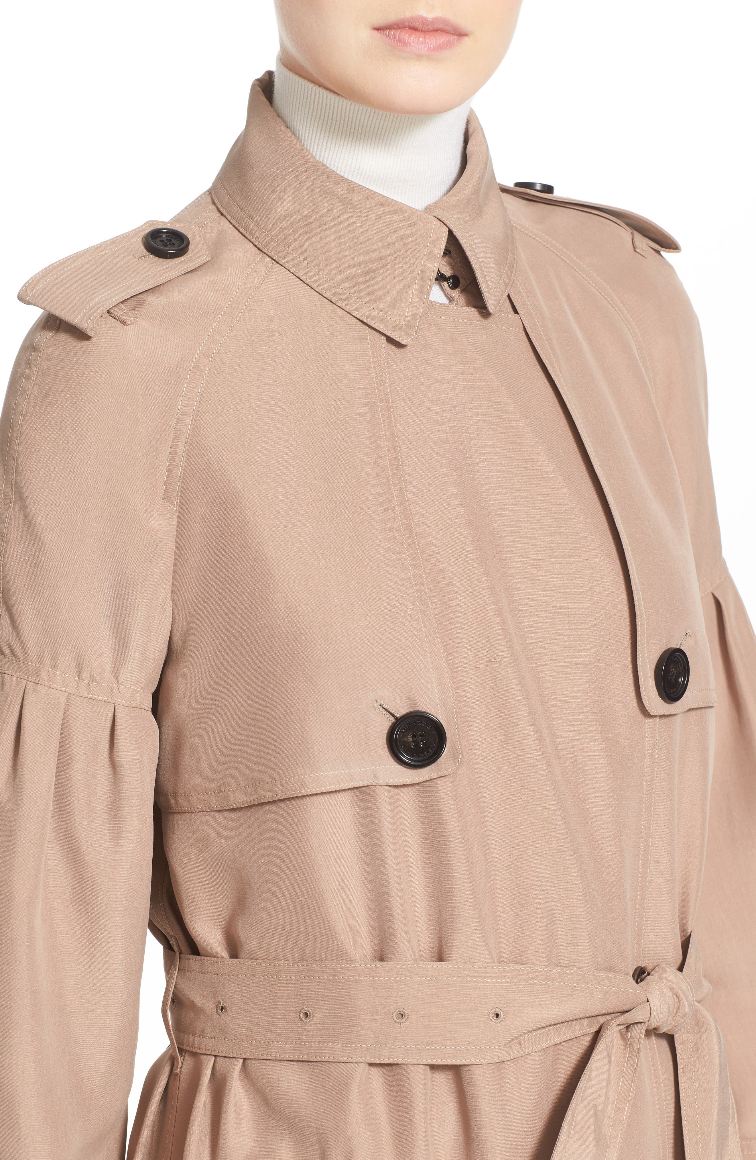 BURBERRY, Maythorne Mulberry Silk Trench, Alternate thumbnail 5, color, 250
