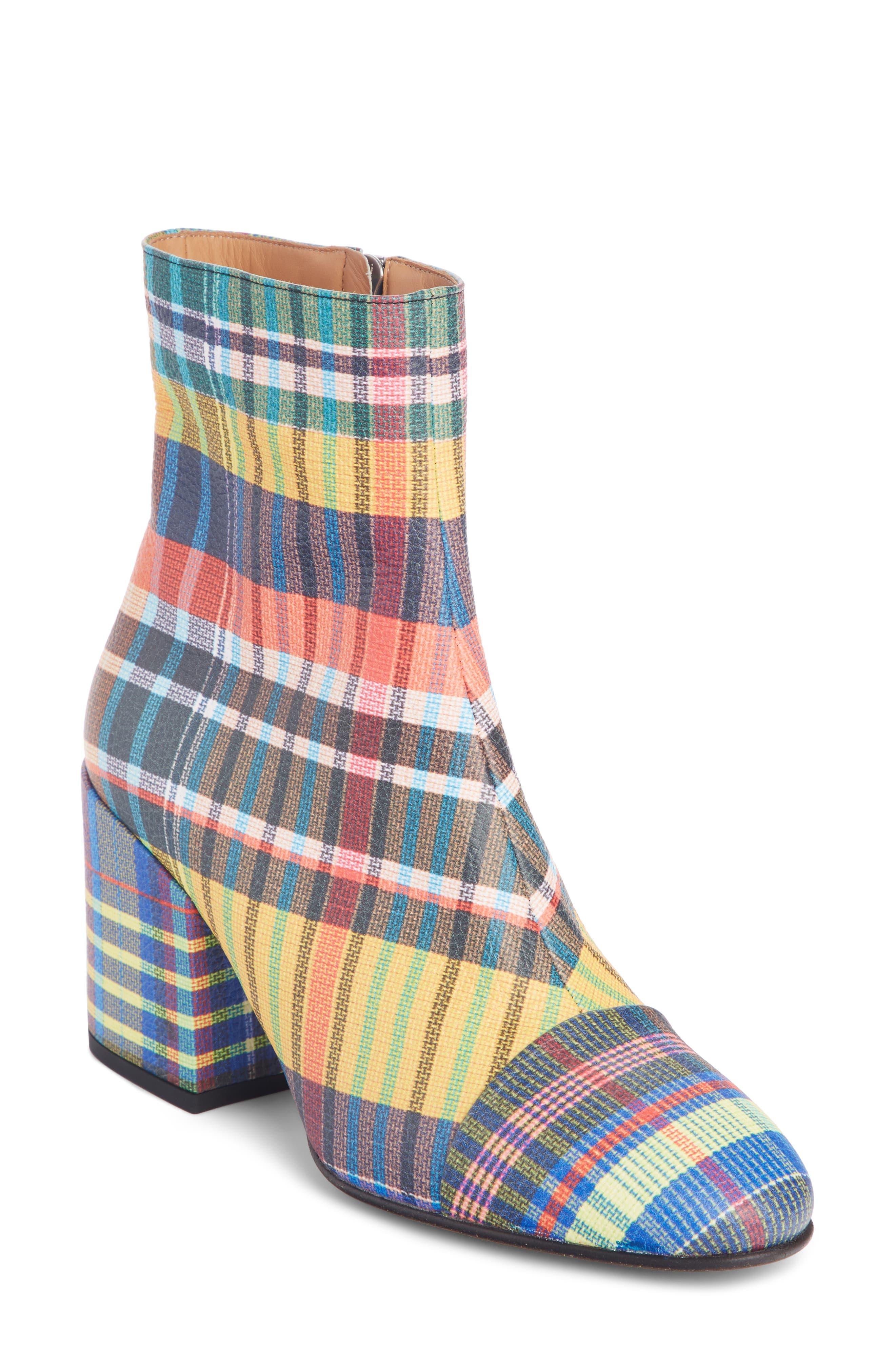 DRIES VAN NOTEN Waterproof Block Heel Bootie, Main, color, PLAID MULTI