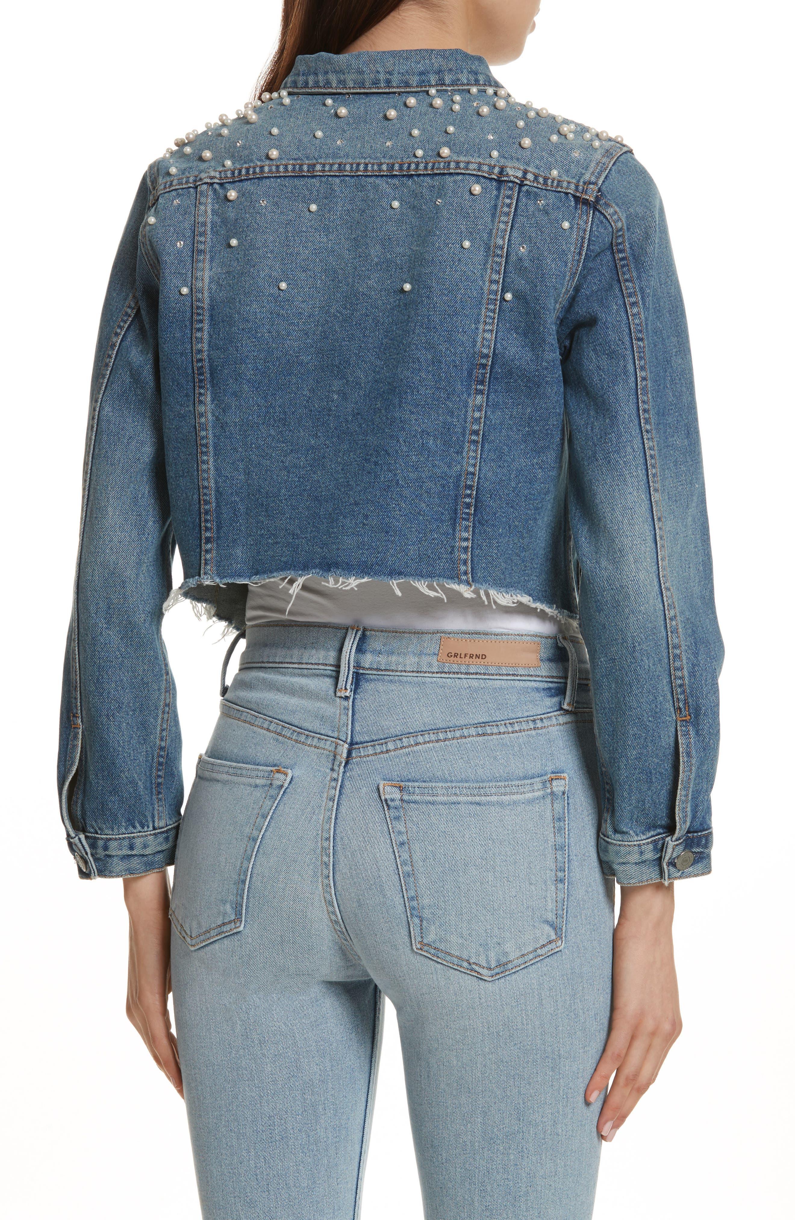 GRLFRND, Eve Faux Pearl & Crystal Embellished Crop Denim Jacket, Alternate thumbnail 2, color, 498