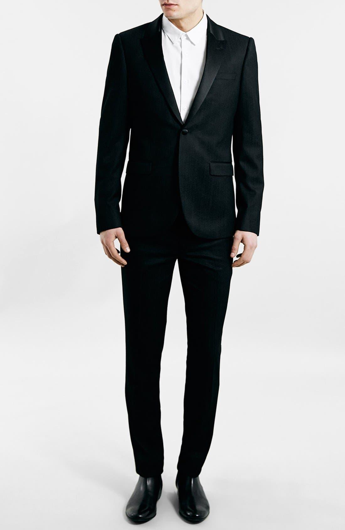 TOPMAN, Black Textured Skinny Fit Tuxedo Jacket, Alternate thumbnail 2, color, 001