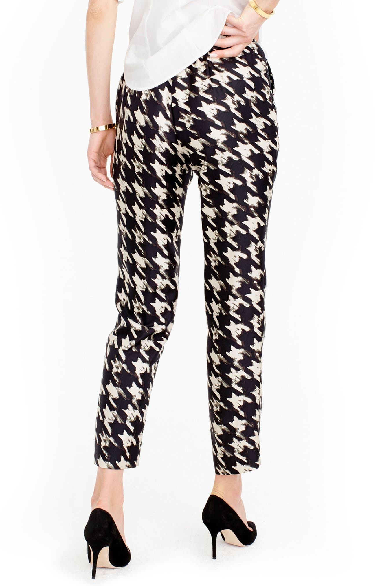 J.CREW, Forrester Wolfstooth Silk Pants, Alternate thumbnail 2, color, 901