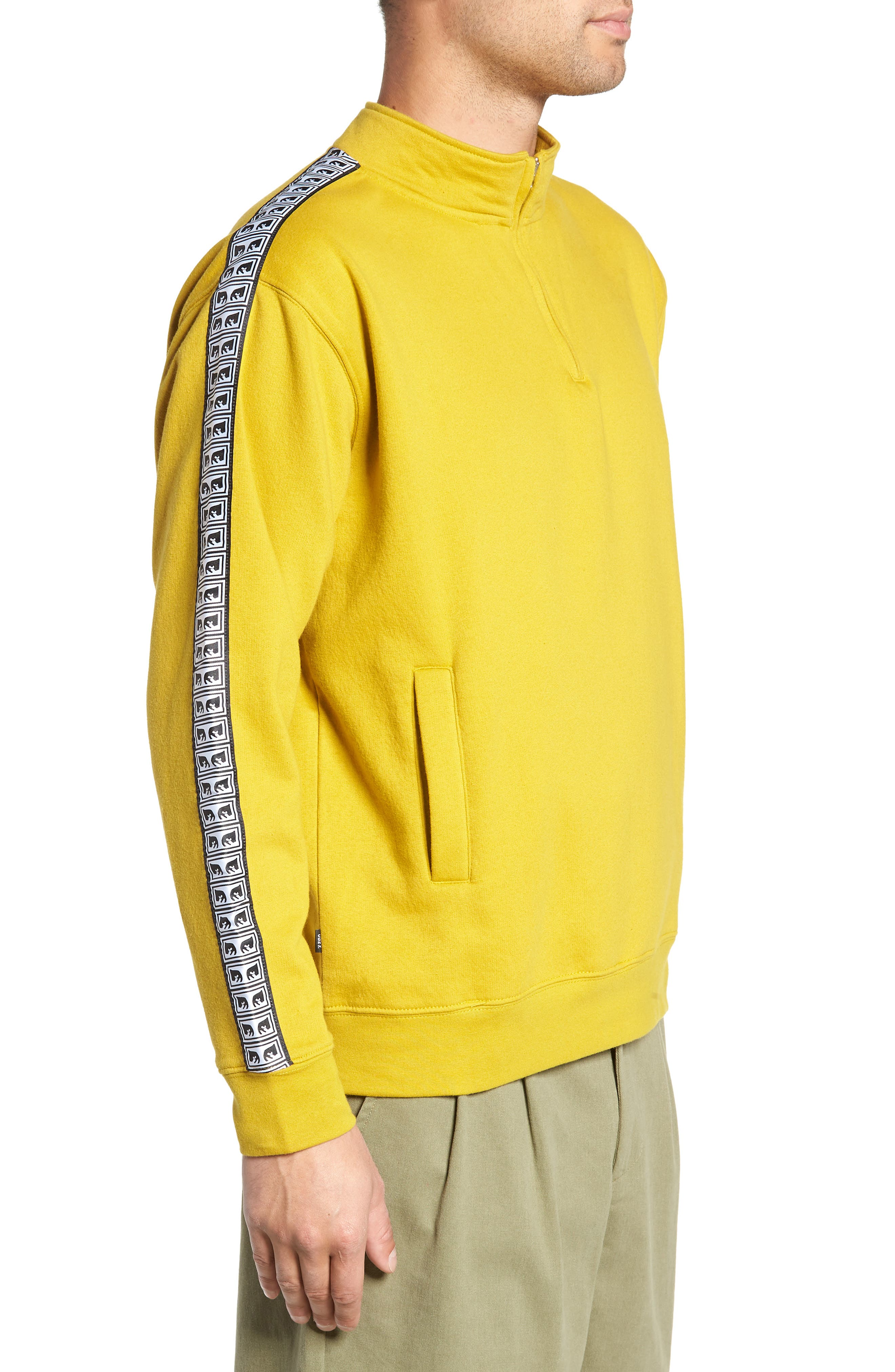 OBEY, Bridges Logo Tape Quarter Zip Pullover, Alternate thumbnail 3, color, 700
