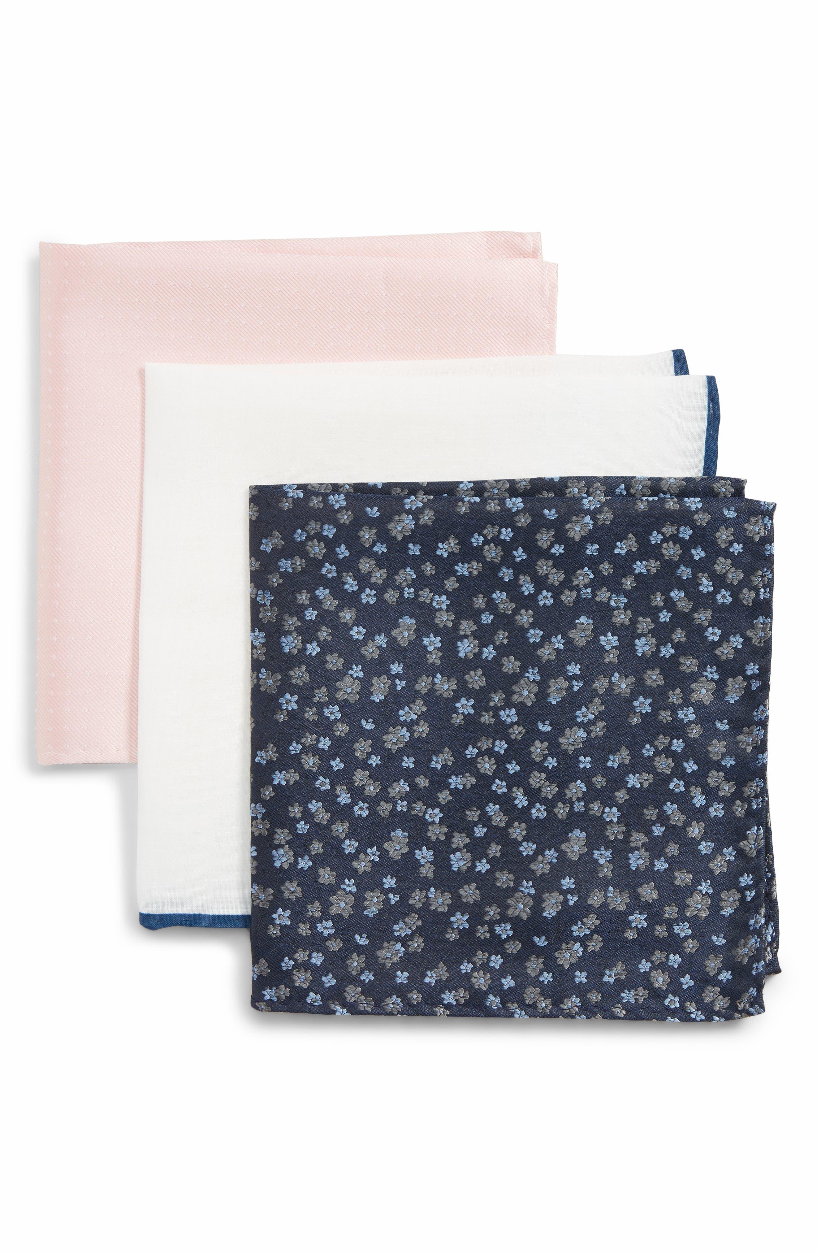 THE TIE BAR, 3-Pack Pocket Squares, Main thumbnail 1, color, BLUSH PINK