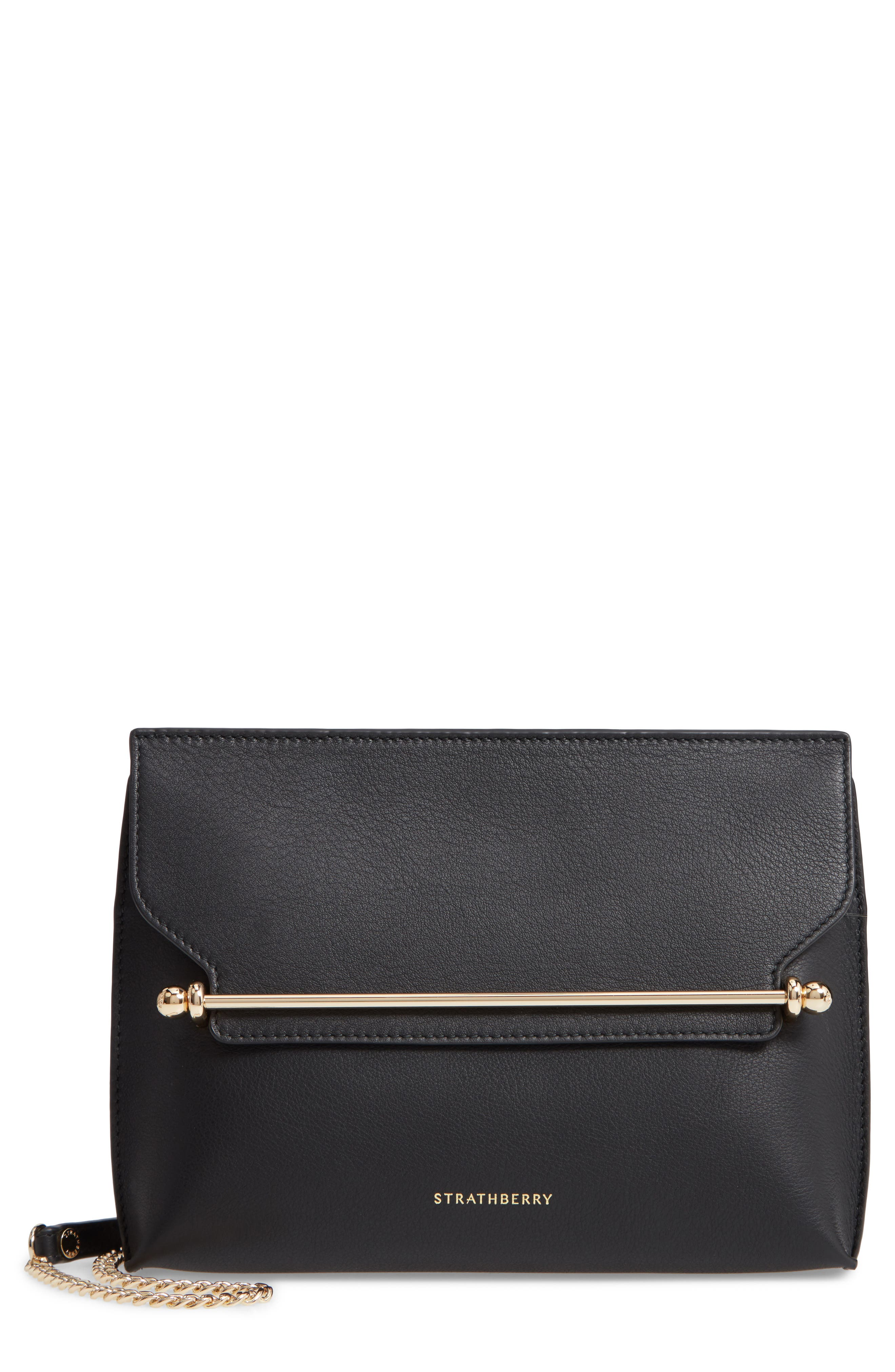 STRATHBERRY, East/West Stylist Calfskin Leather Clutch, Main thumbnail 1, color, BLACK