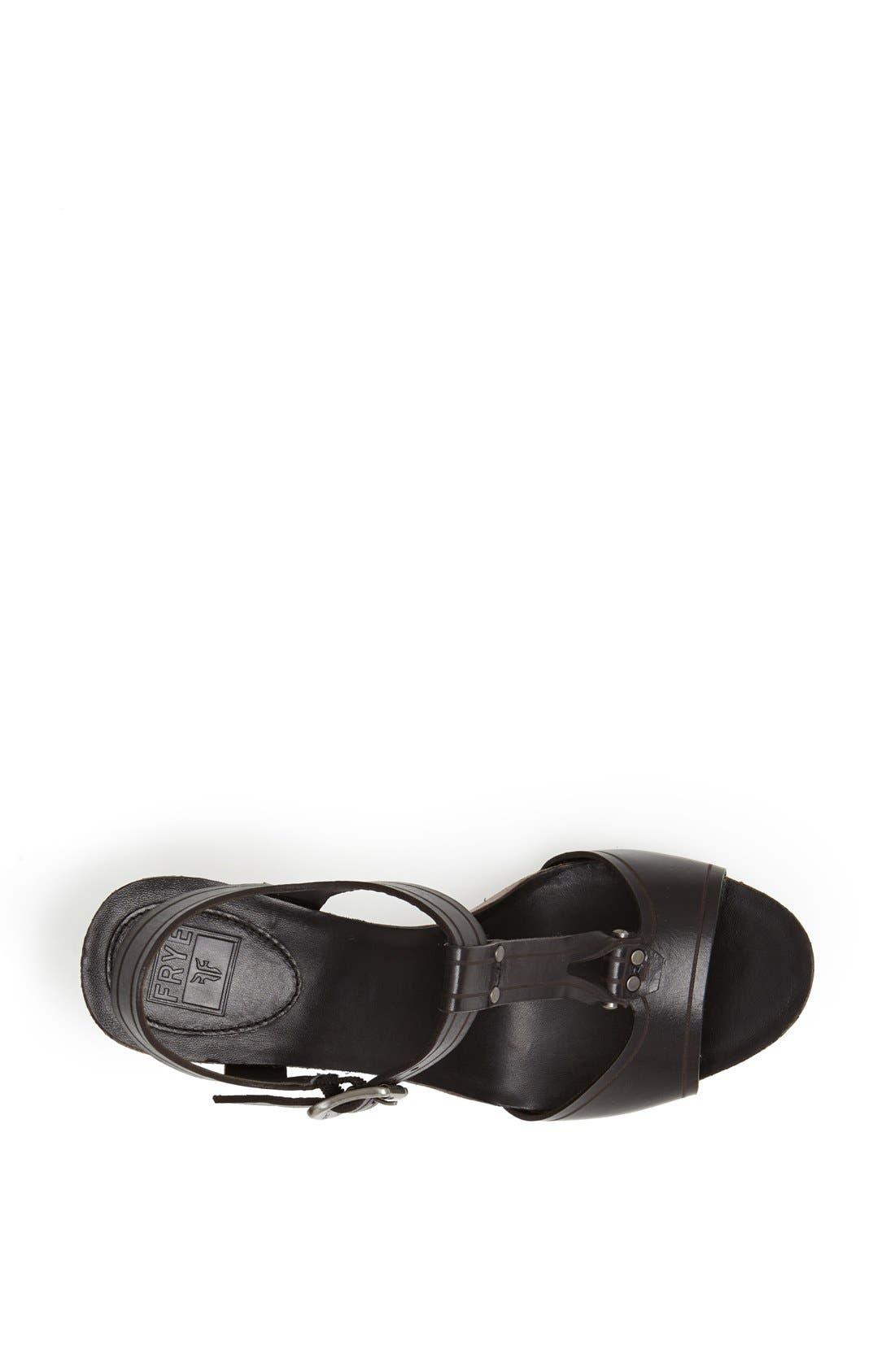 FRYE, 'Silvie' Y-Strap Leather Sandal, Alternate thumbnail 3, color, 001