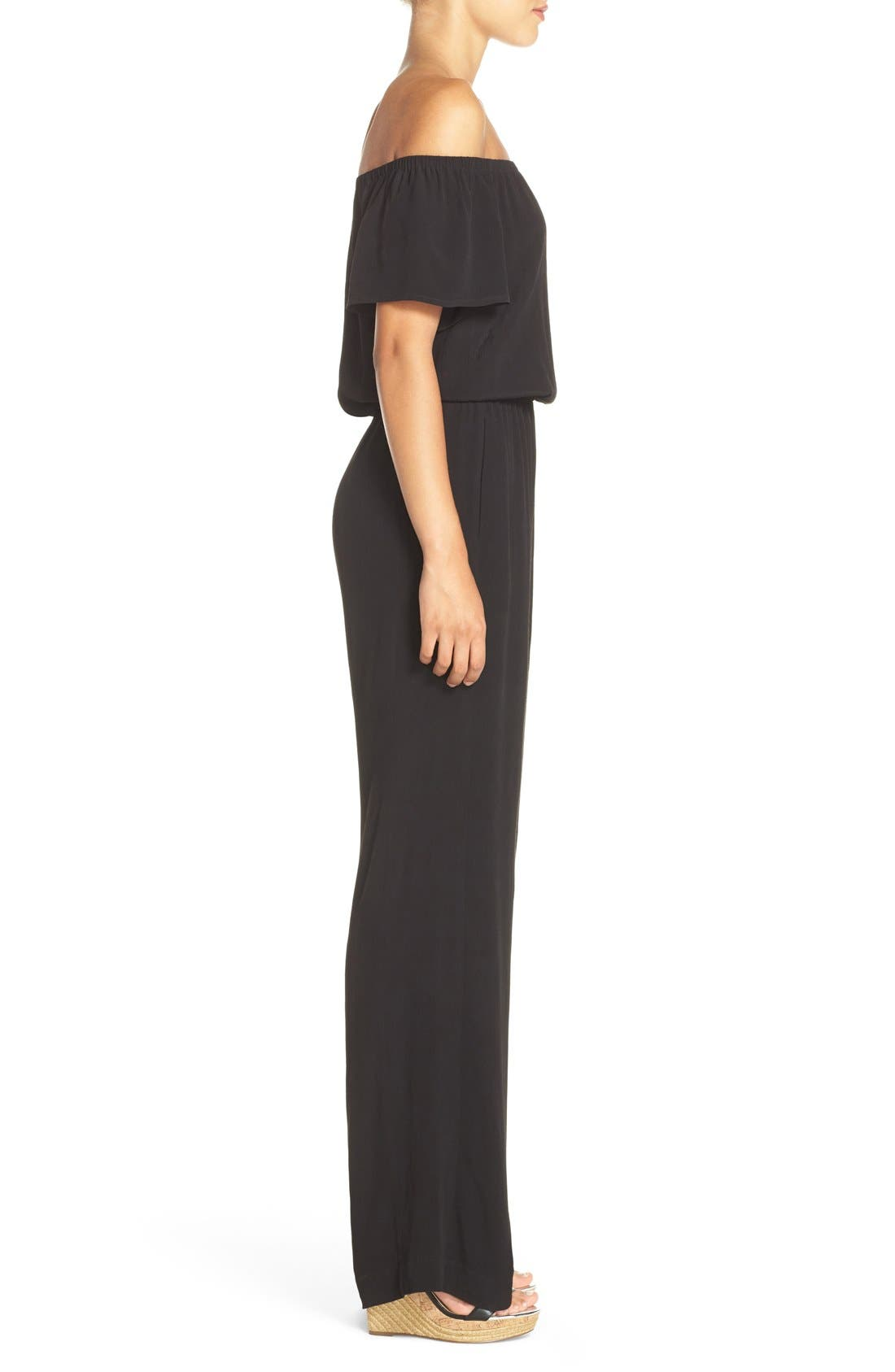 CHARLES HENRY, Off the Shoulder Wide Leg Jumpsuit, Alternate thumbnail 5, color, BLACK