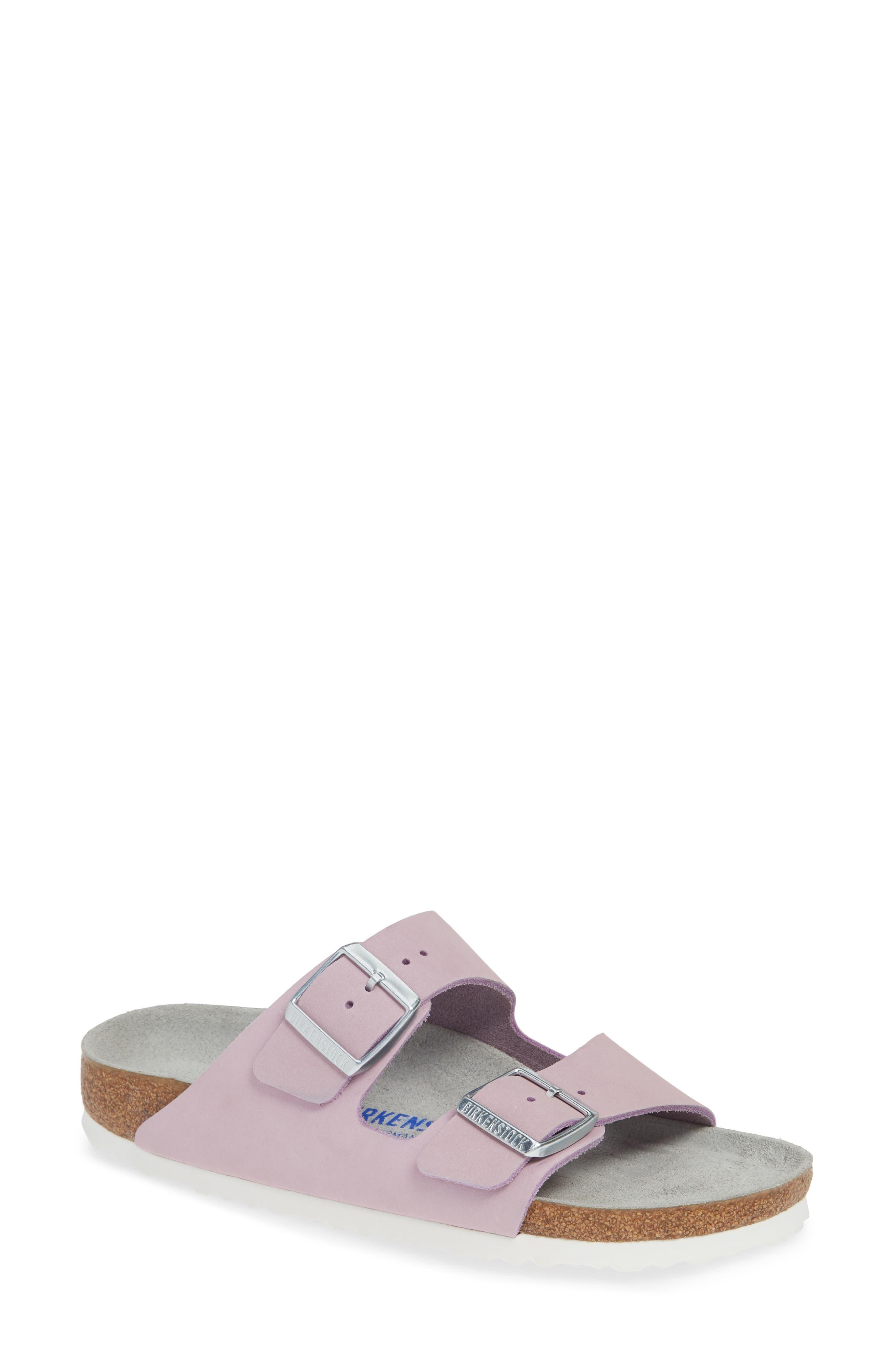 BIRKENSTOCK, Arizona Soft Footbed Sandal, Main thumbnail 1, color, LILAC NUBUCK