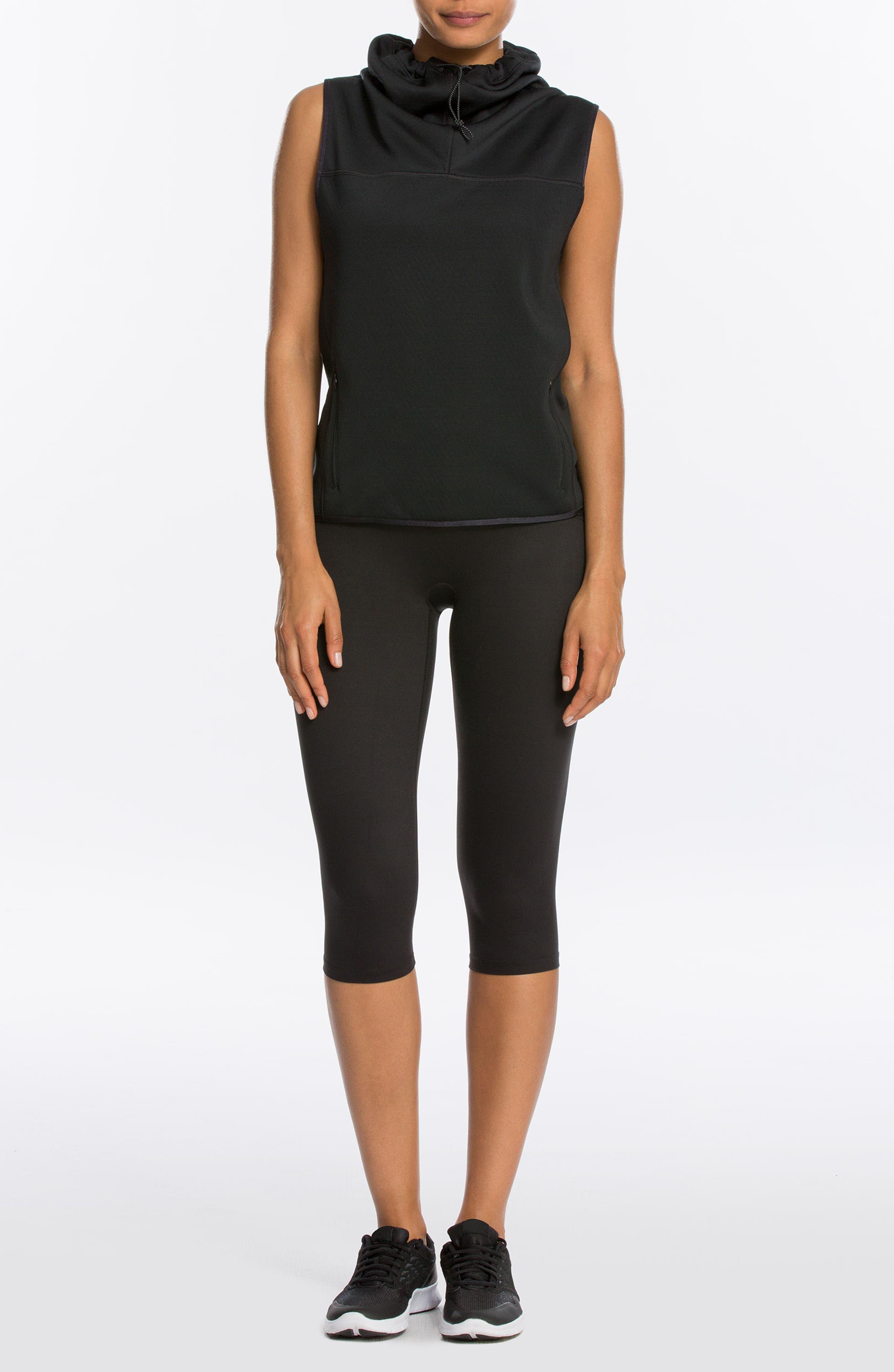 SPANX<SUP>®</SUP>, Active Knee-Length Leggings, Alternate thumbnail 10, color, BLACK