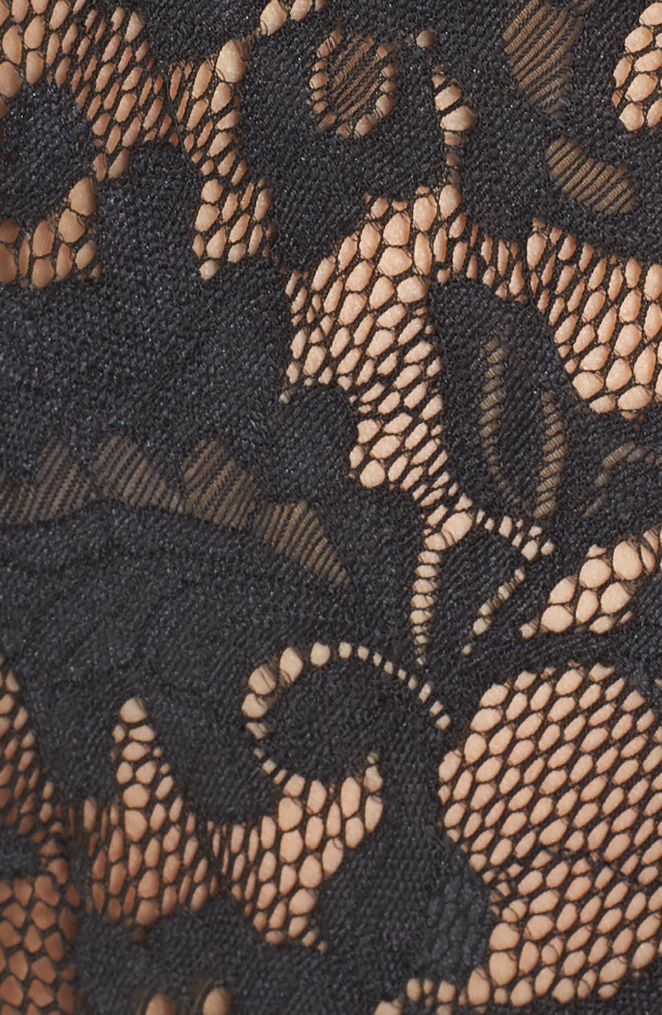 ANN SUMMERS, Mayah Embellished Lace Bodysuit, Alternate thumbnail 5, color, BLACK