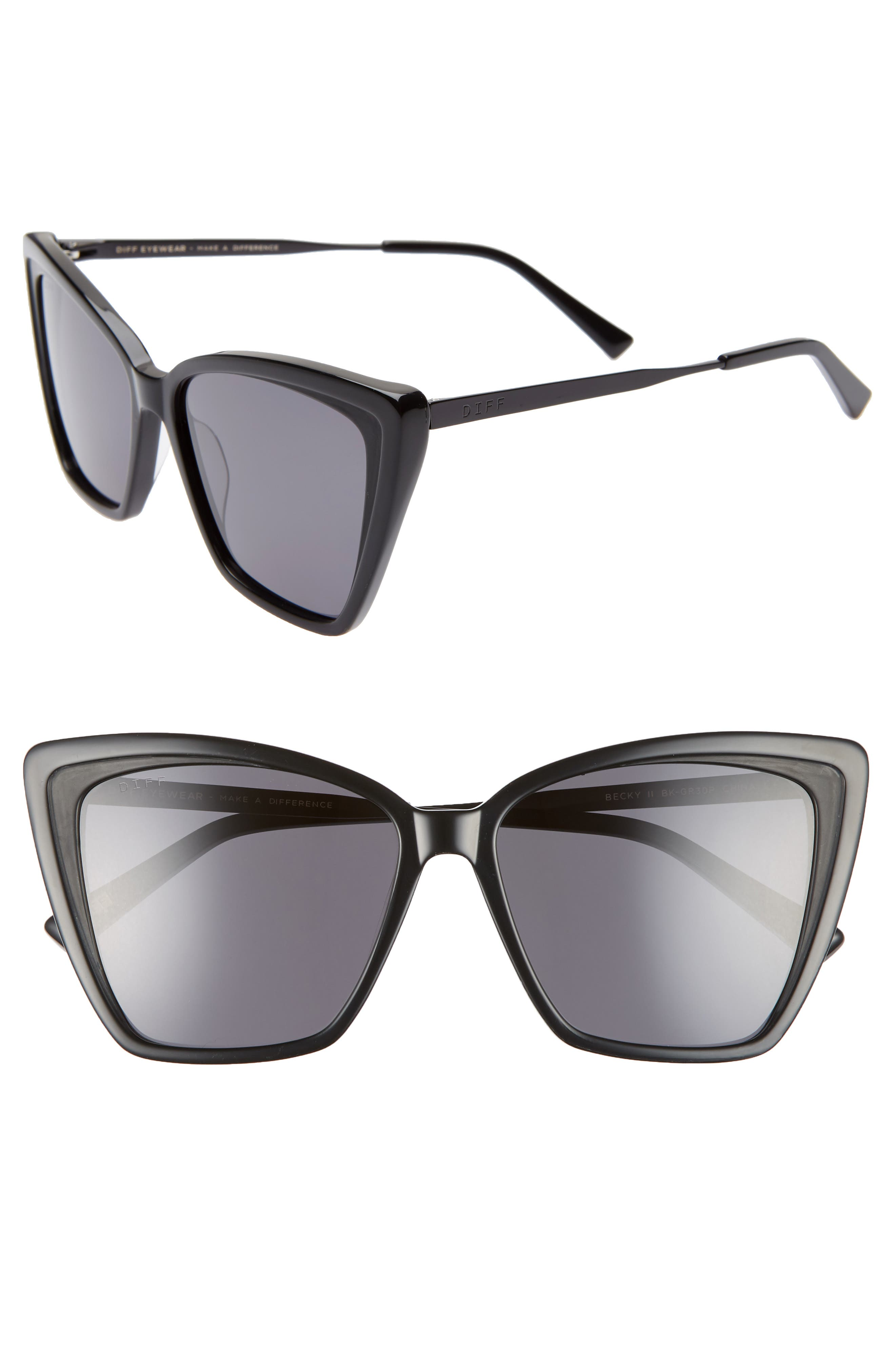 DIFF Becky II 55mm Cat Eye Sunglasses, Main, color, BLACK/ DARK SMOKE