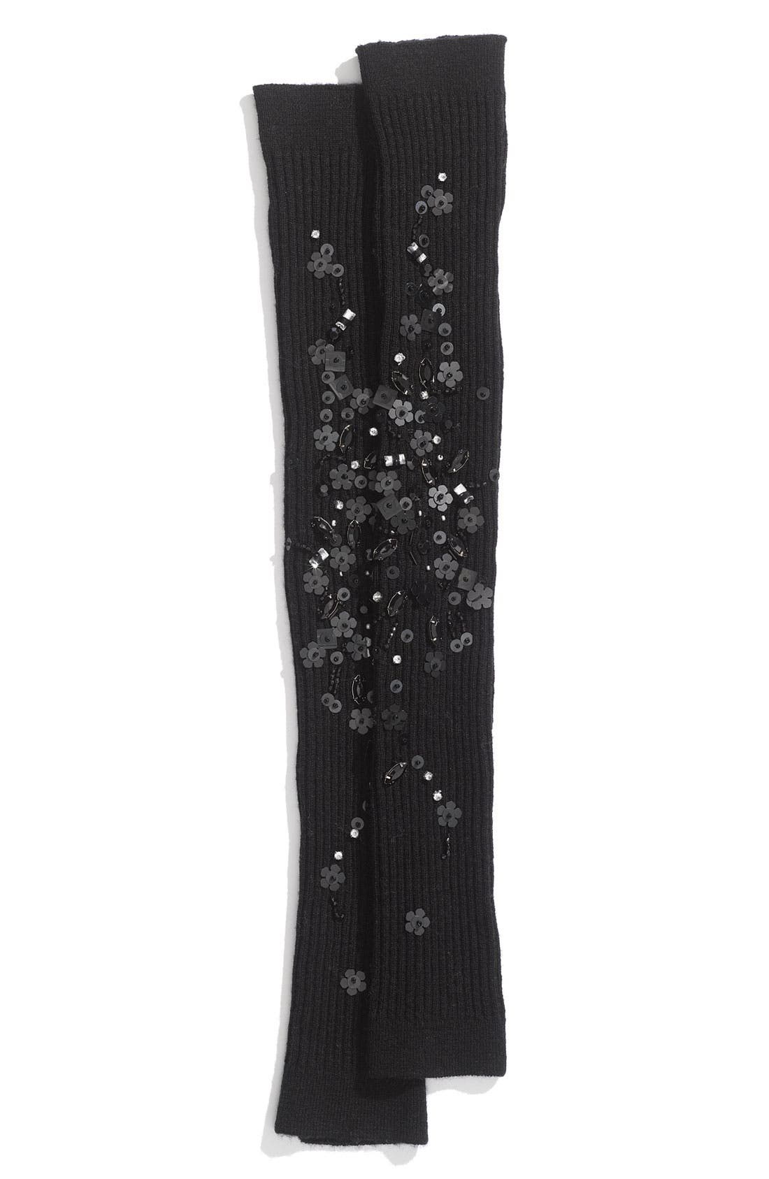 JUICY COUTURE, 'Ribs & Gems' Wool Arm & Leg Warmers, Alternate thumbnail 2, color, 001