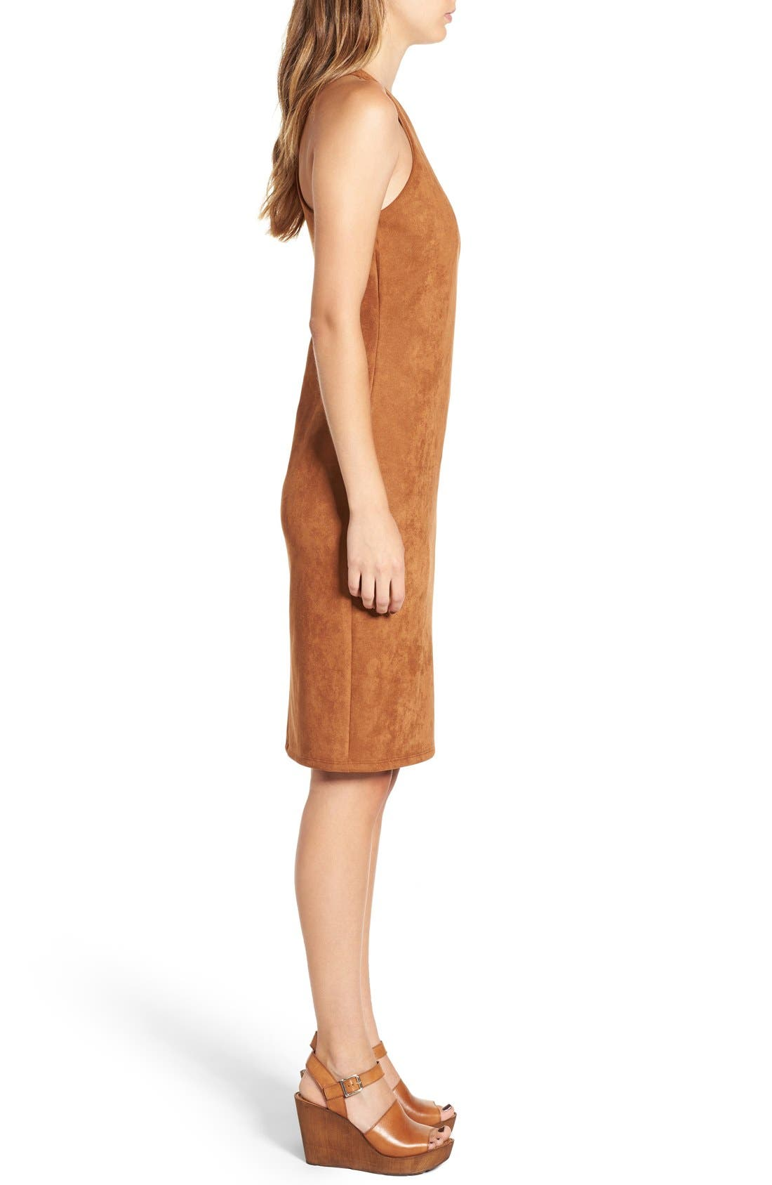 JUNE & HUDSON, Faux Suede Midi Dress, Alternate thumbnail 5, color, 200