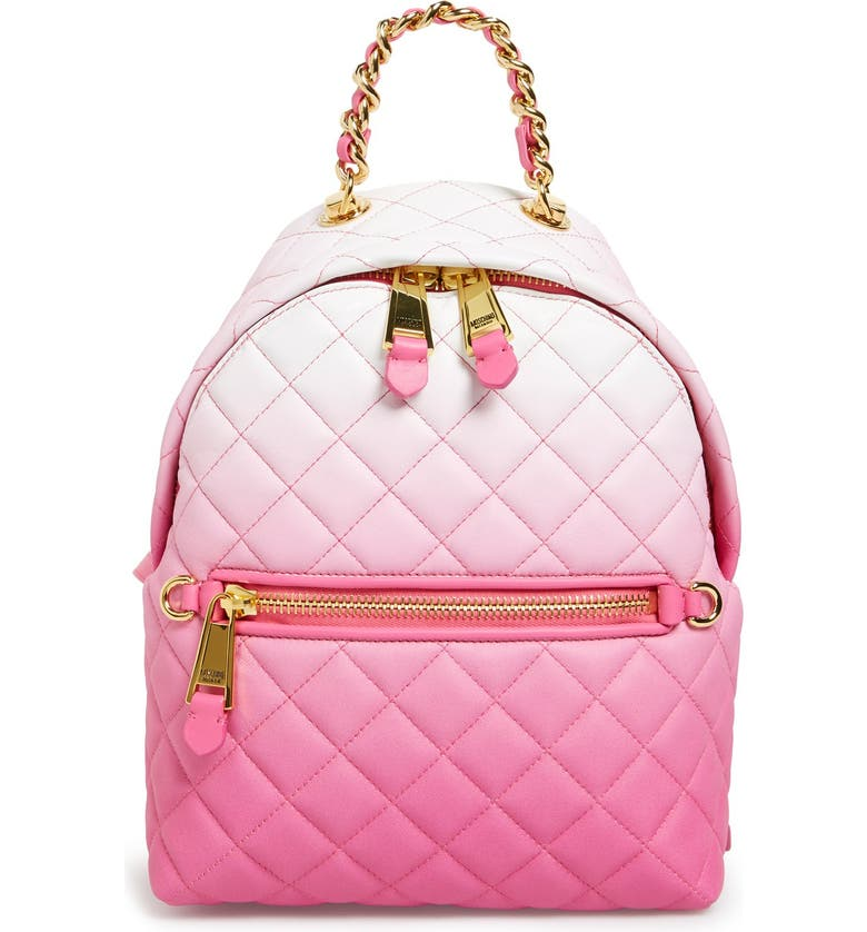 e86bc762a1 MOSCHINO 'Letters' Dégradé Quilted Nappa Leather Backpack, Main, color, ...