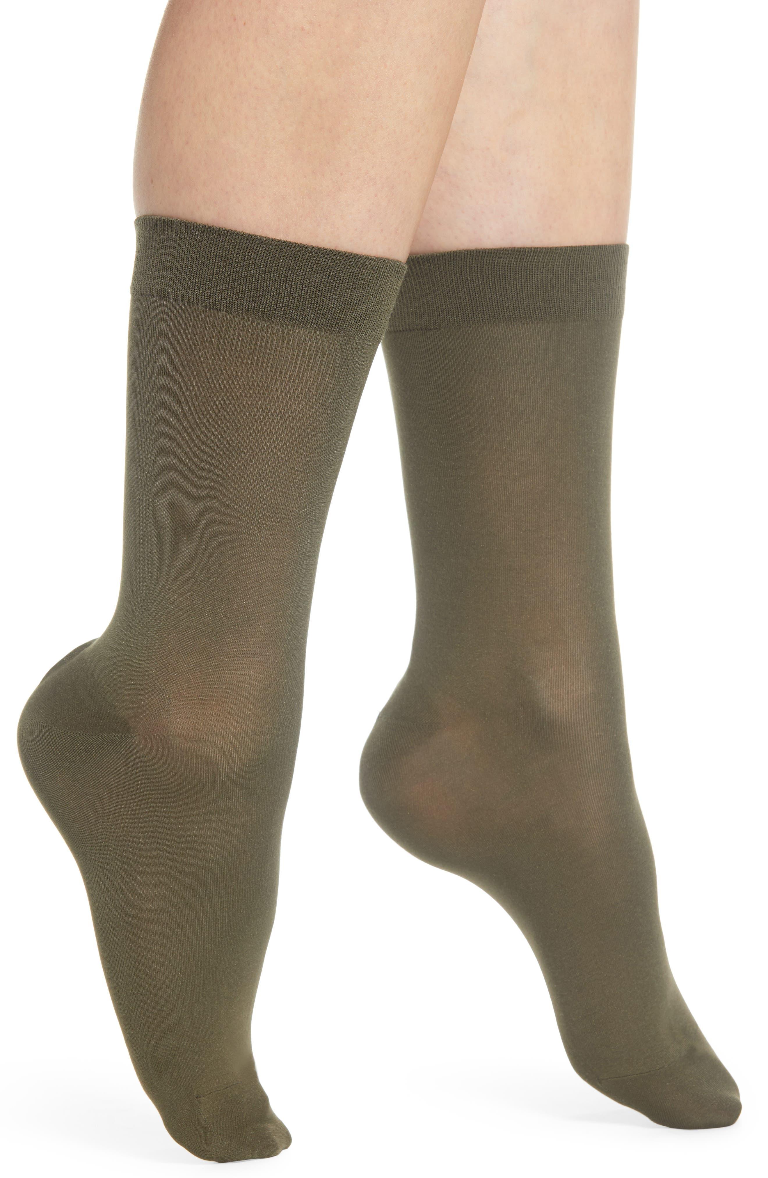 FALKE Cotton Blend Trouser Socks, Main, color, MILITARY