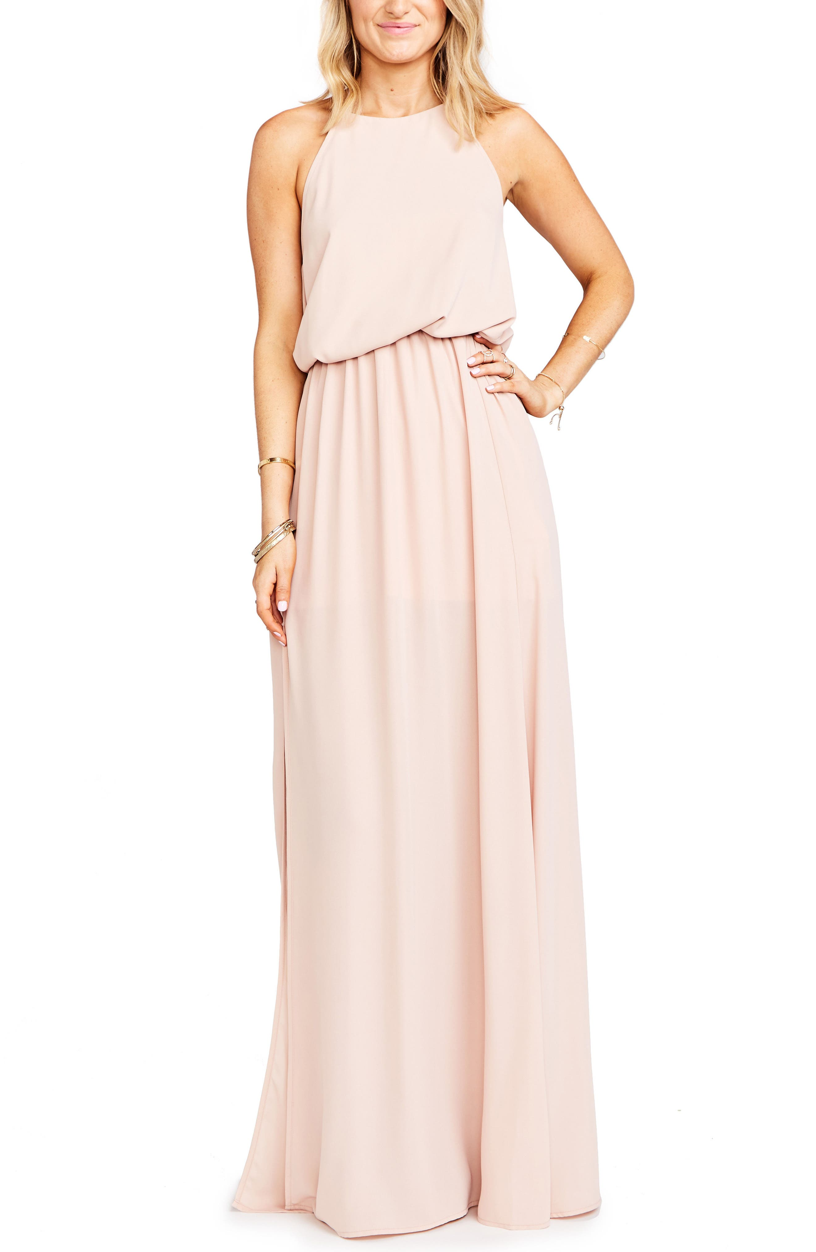 SHOW ME YOUR MUMU, Heather Chiffon Halter Gown, Main thumbnail 1, color, DUSTY BLUSH