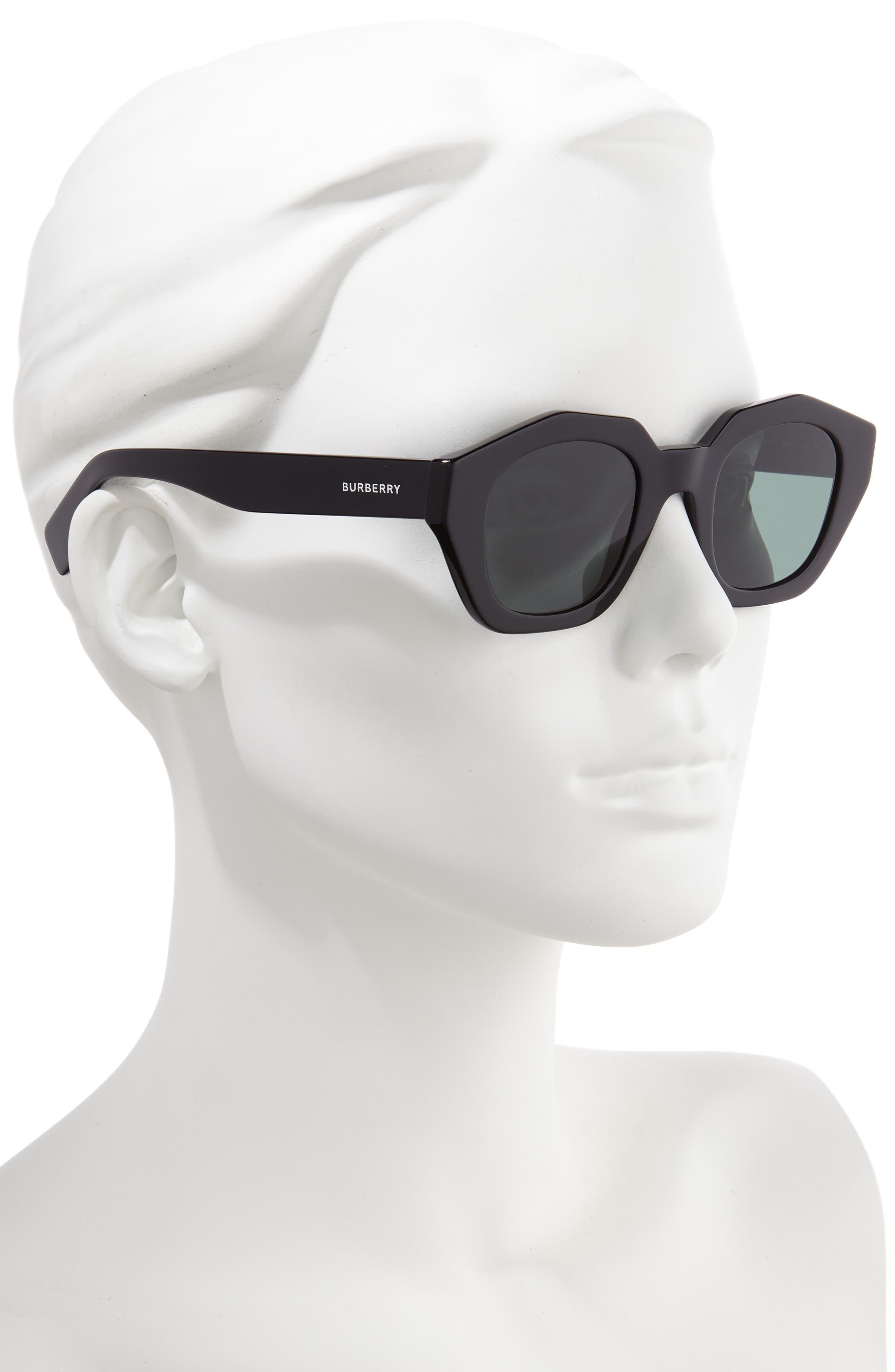 BURBERRY, 46mm Geometric Sunglasses, Alternate thumbnail 2, color, BLACK