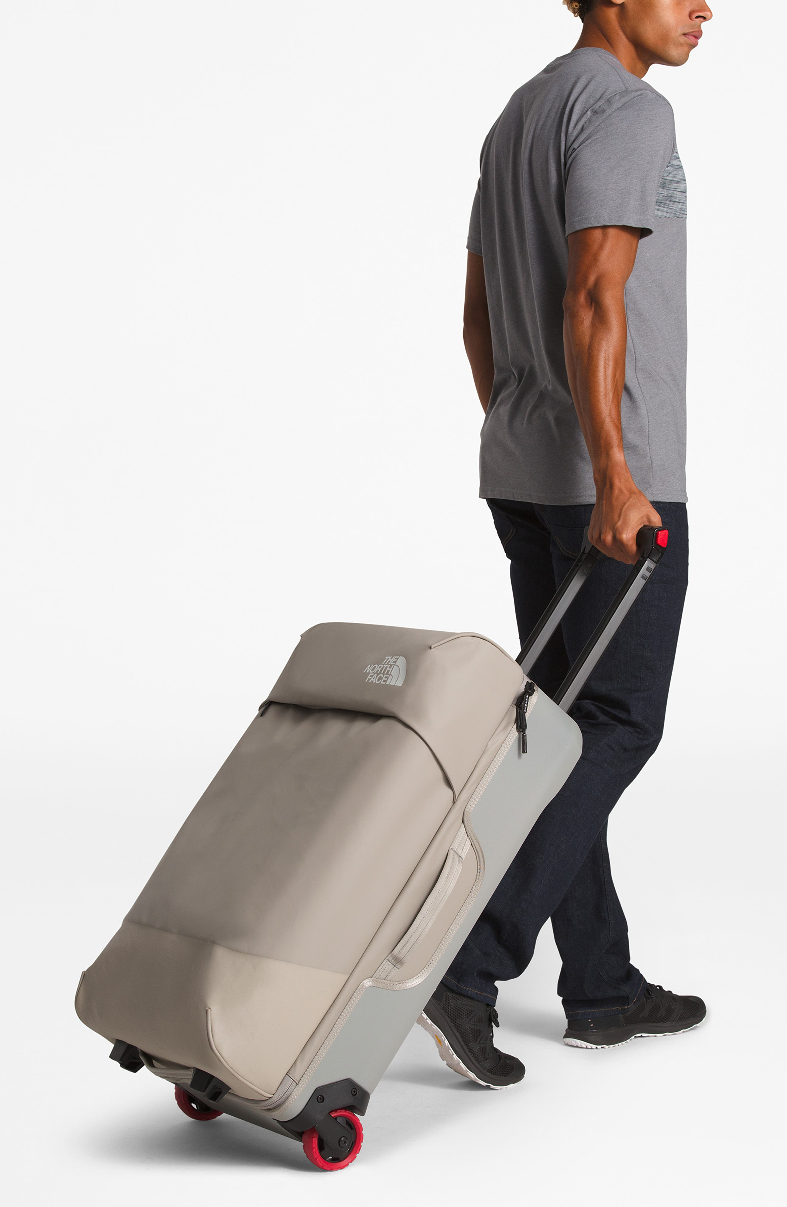 THE NORTH FACE, Stratoliner Large Rolling Suitcase, Alternate thumbnail 2, color, SILT GREY/MOONSTRUCK GREY