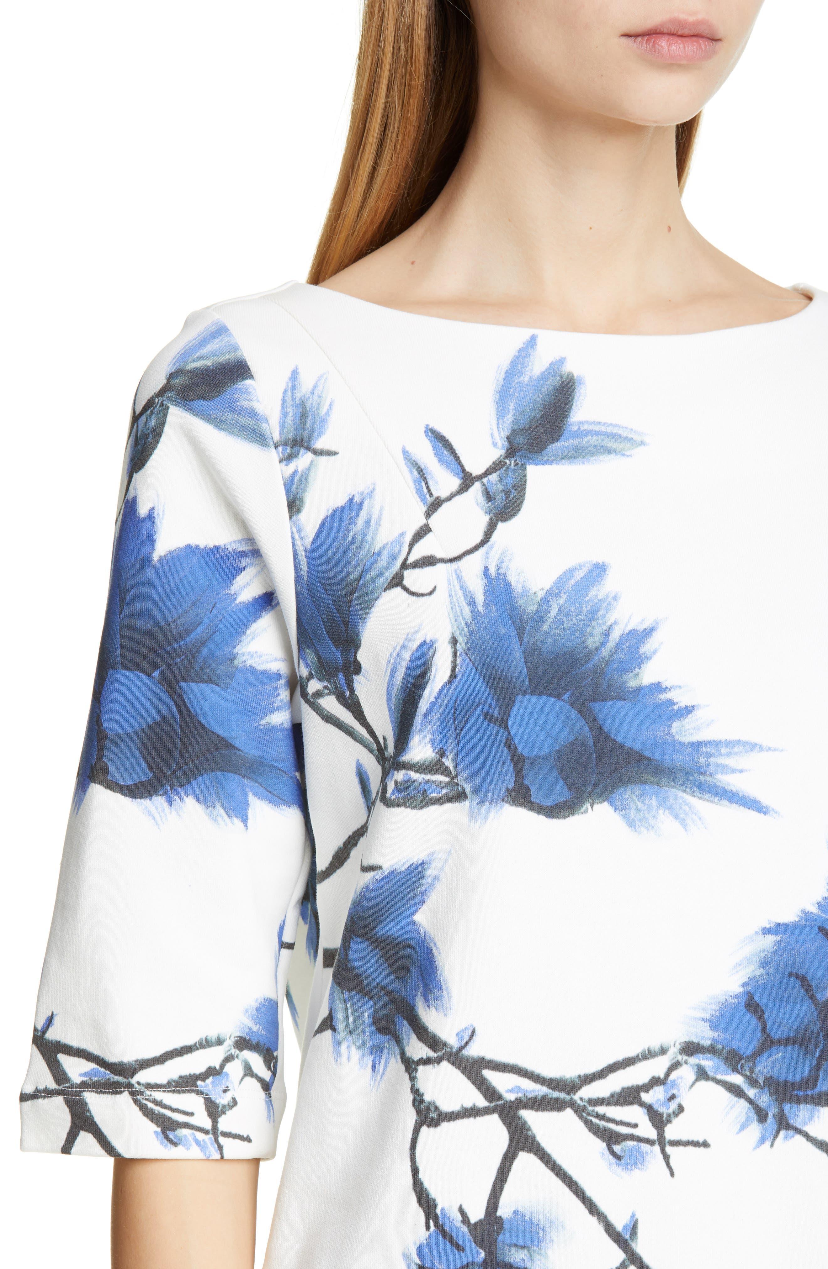 DRIES VAN NOTEN, Haendel Hand Painted Floral Top, Alternate thumbnail 4, color, BLACK