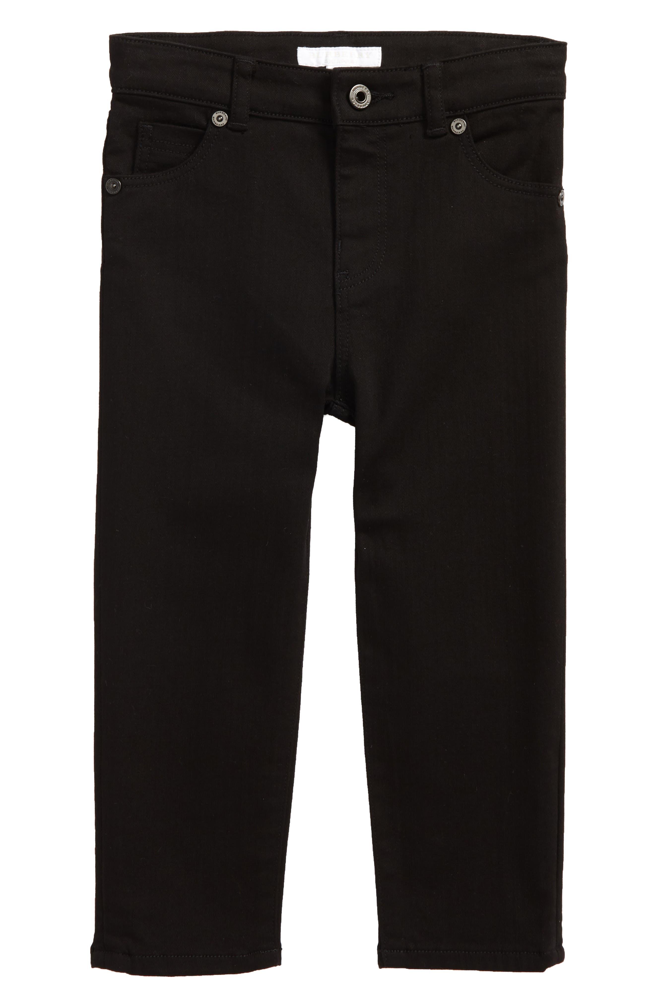 BURBERRY Skinny Jeans, Main, color, BLACK