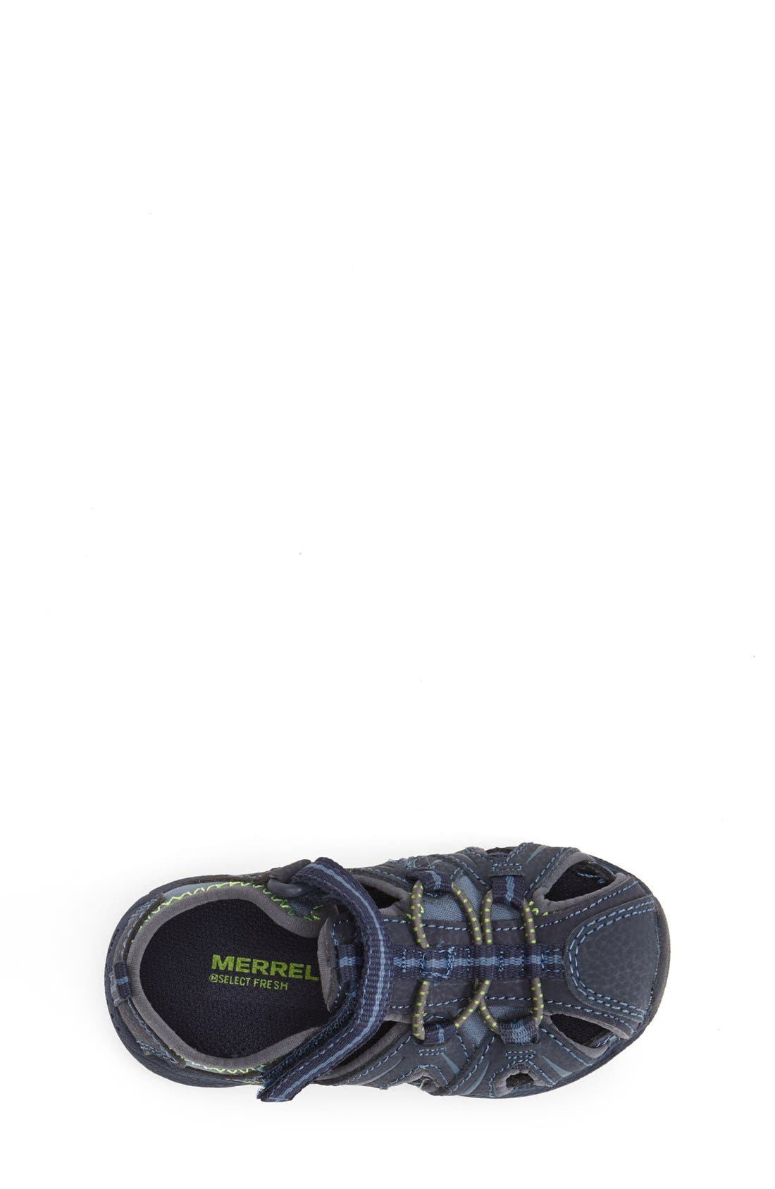 MERRELL, 'Hydro Junior' M-Select Water Sandal, Alternate thumbnail 2, color, NAVY/ GREEN