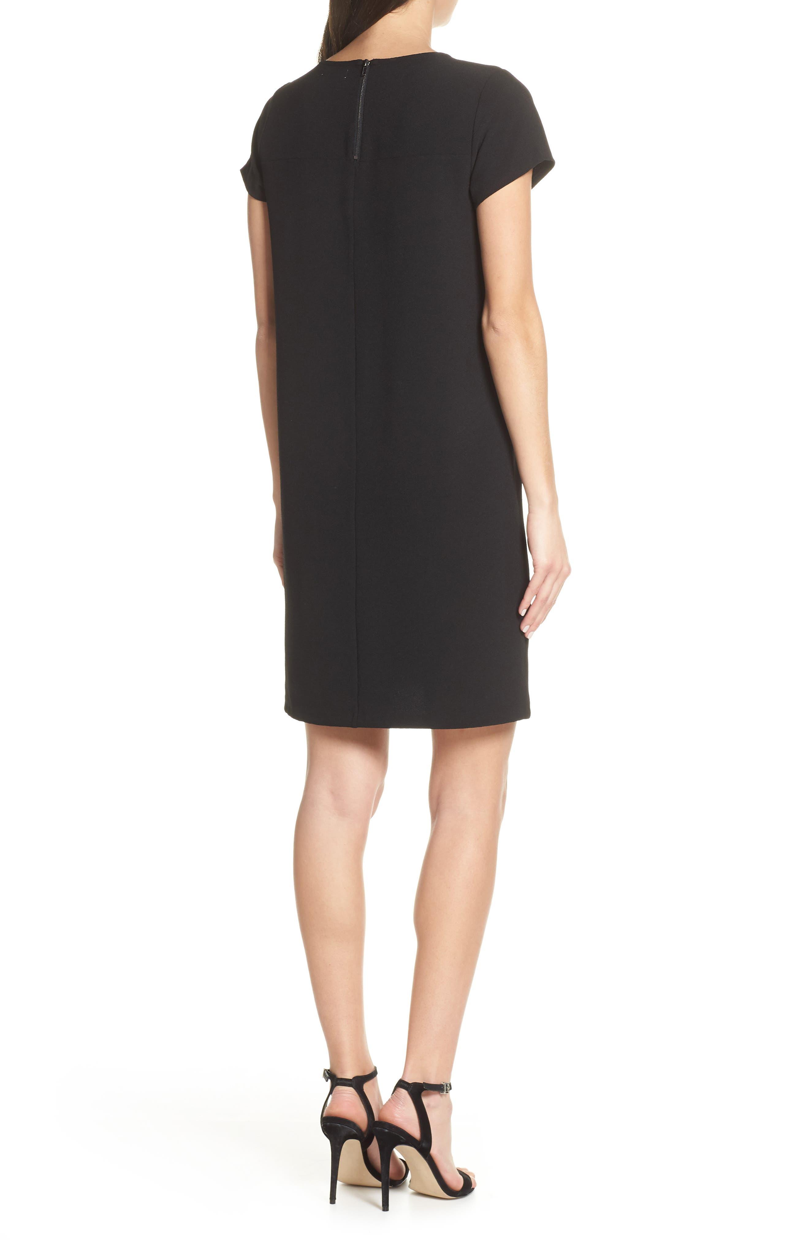 CHELSEA28, Crepe Shift Dress, Alternate thumbnail 4, color, BLACK