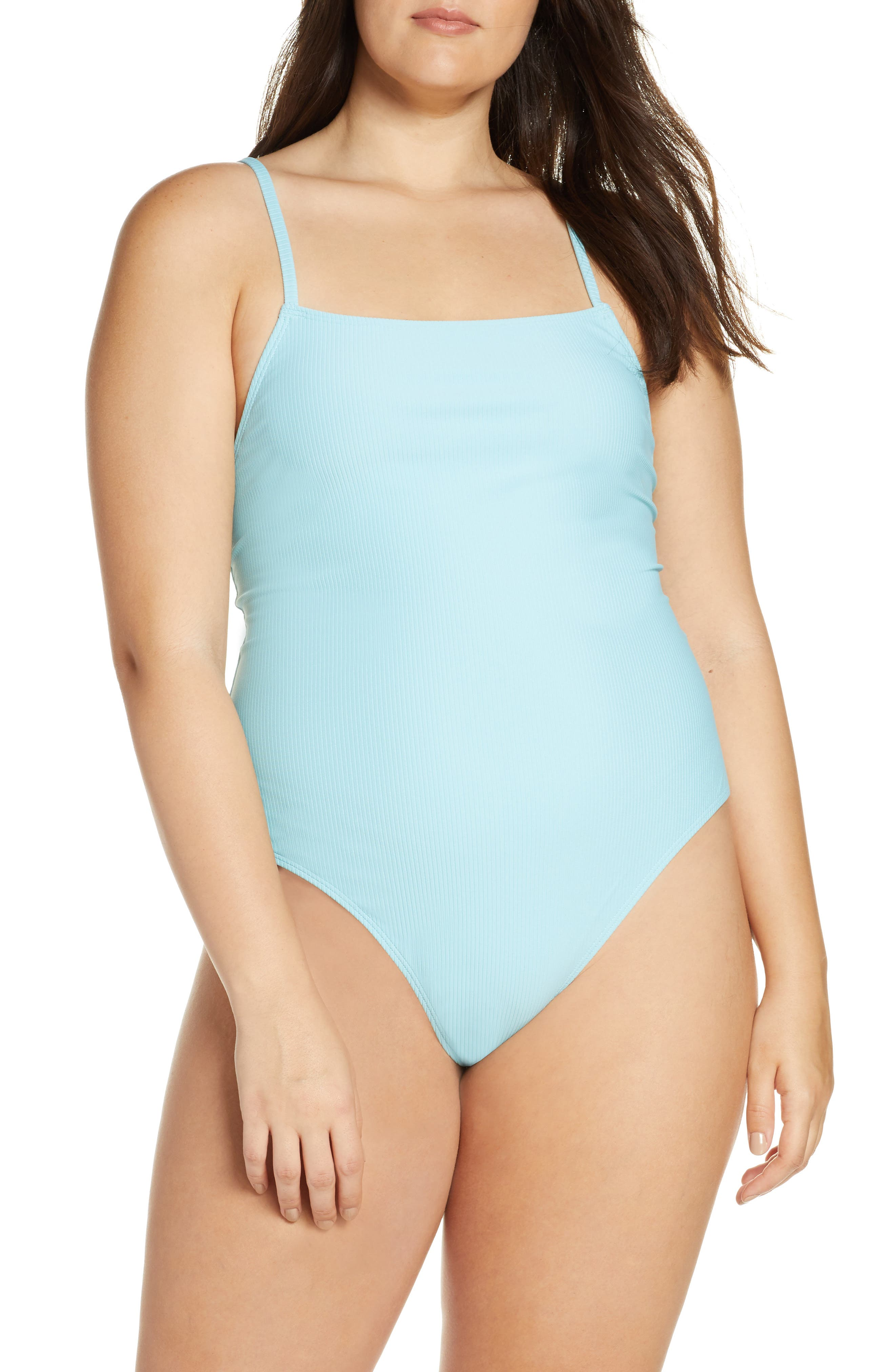 SOMETHING NAVY, Core Ribbed One-Piece Swimsuit, Alternate thumbnail 8, color, BLUE GULF