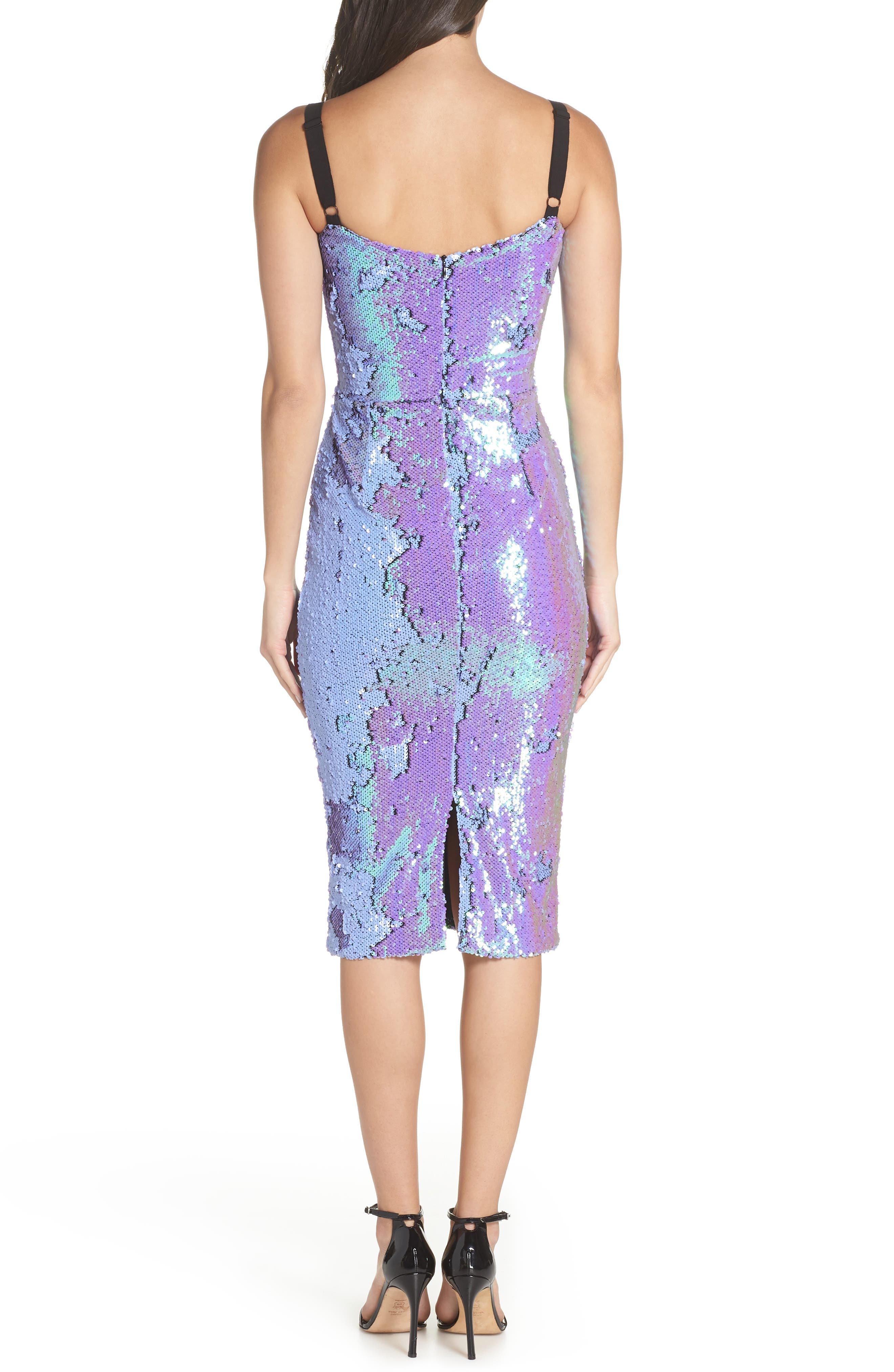 DRESS THE POPULATION, Lynda Iridescent Sequin Sheath Dress, Alternate thumbnail 2, color, ULTRA VIOLET