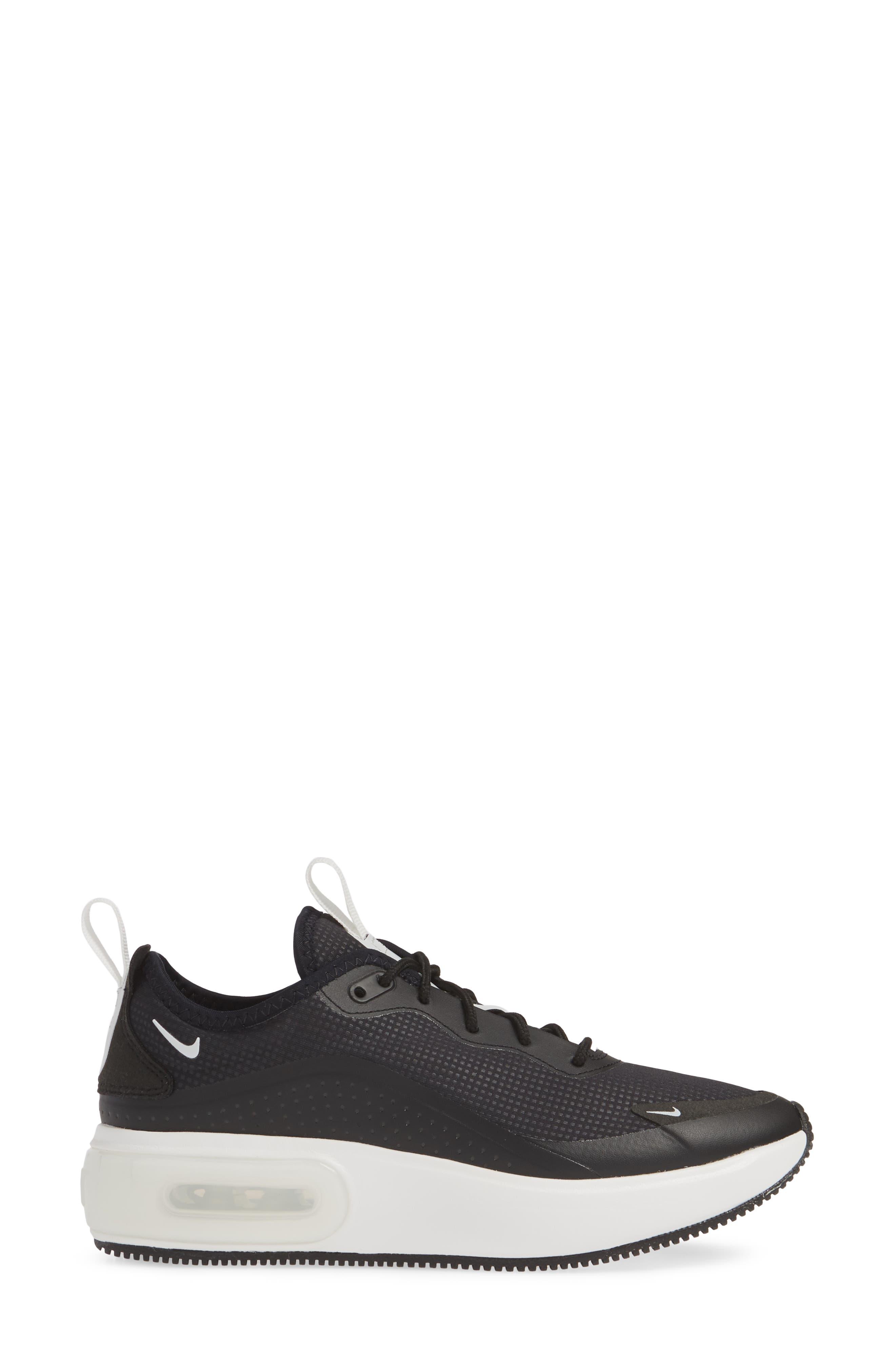 NIKE, Air Max Dia Sneaker, Alternate thumbnail 3, color, BLACK/ SUMMIT WHITE