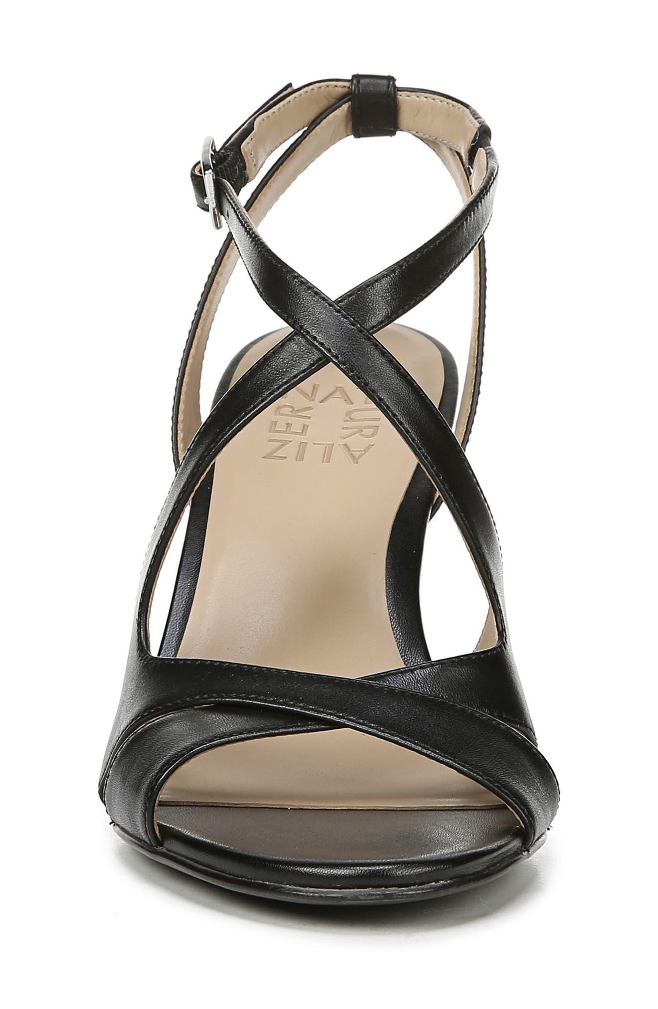 NATURALIZER, Klein Strappy Sandal, Alternate thumbnail 4, color, BLACK LEATHER