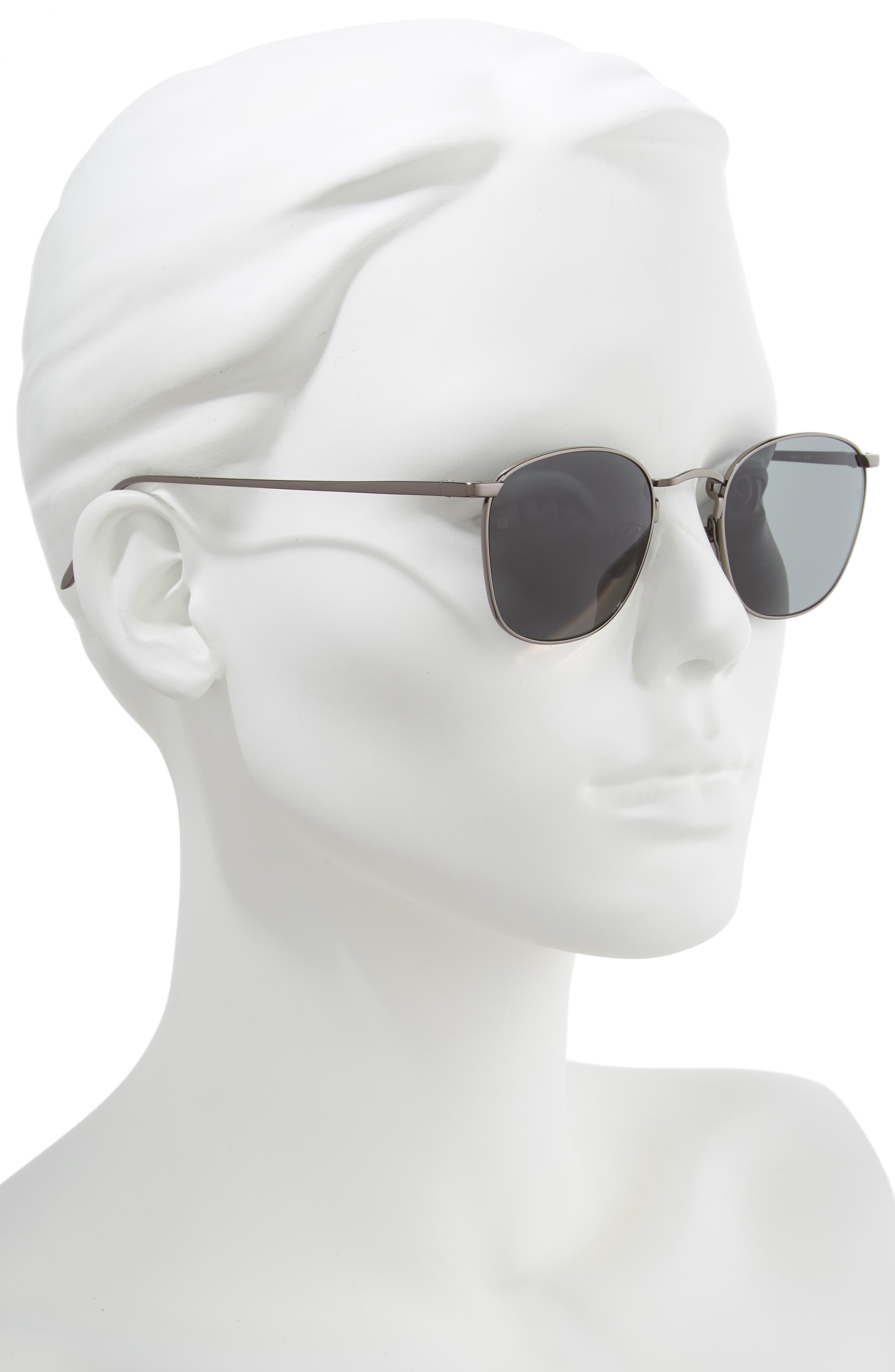 LINDA FARROW, 48mm Square Sunglasses, Alternate thumbnail 2, color, DARK NICKEL