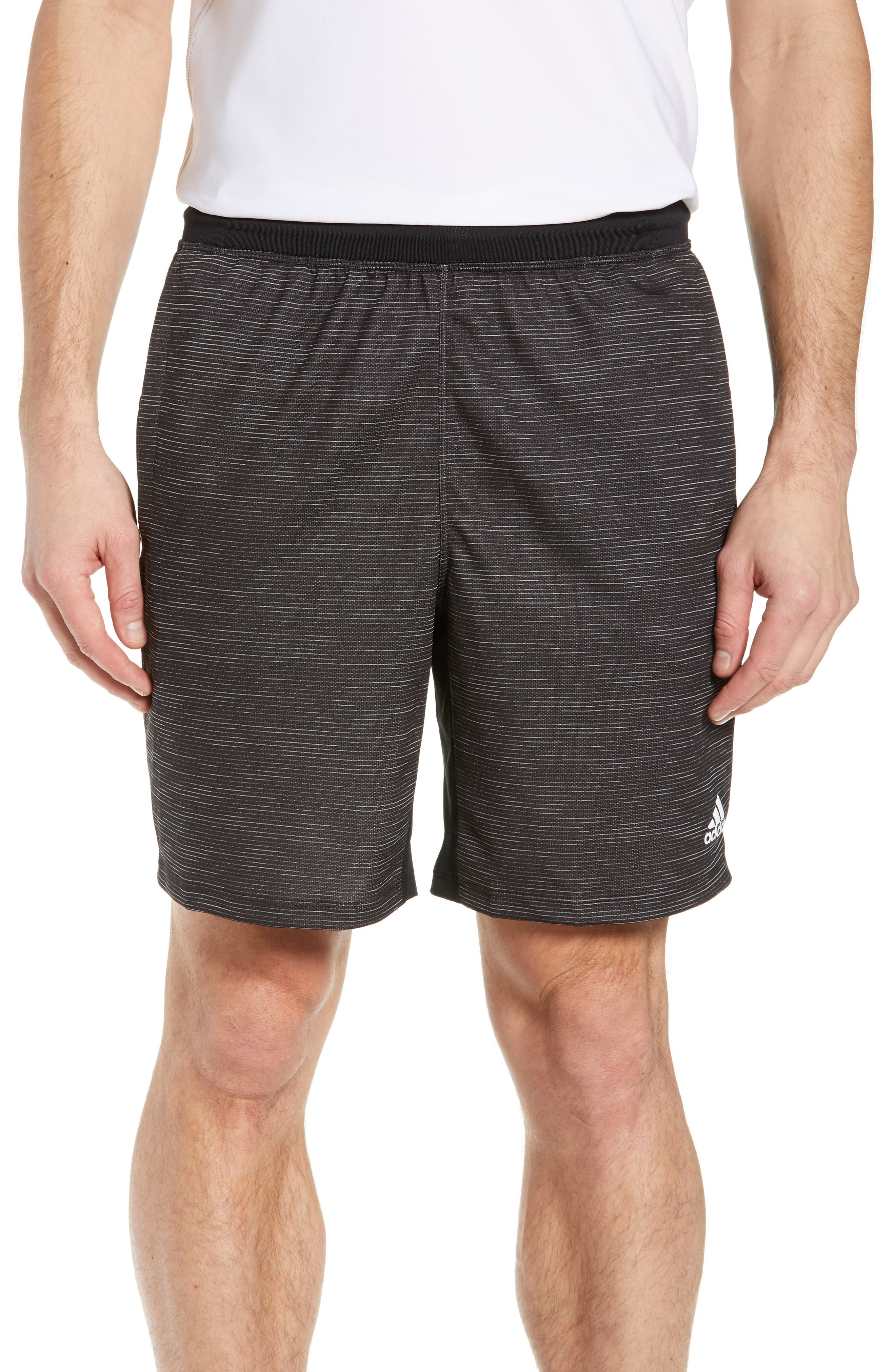 ADIDAS, Knit Shorts, Main thumbnail 1, color, BLACK