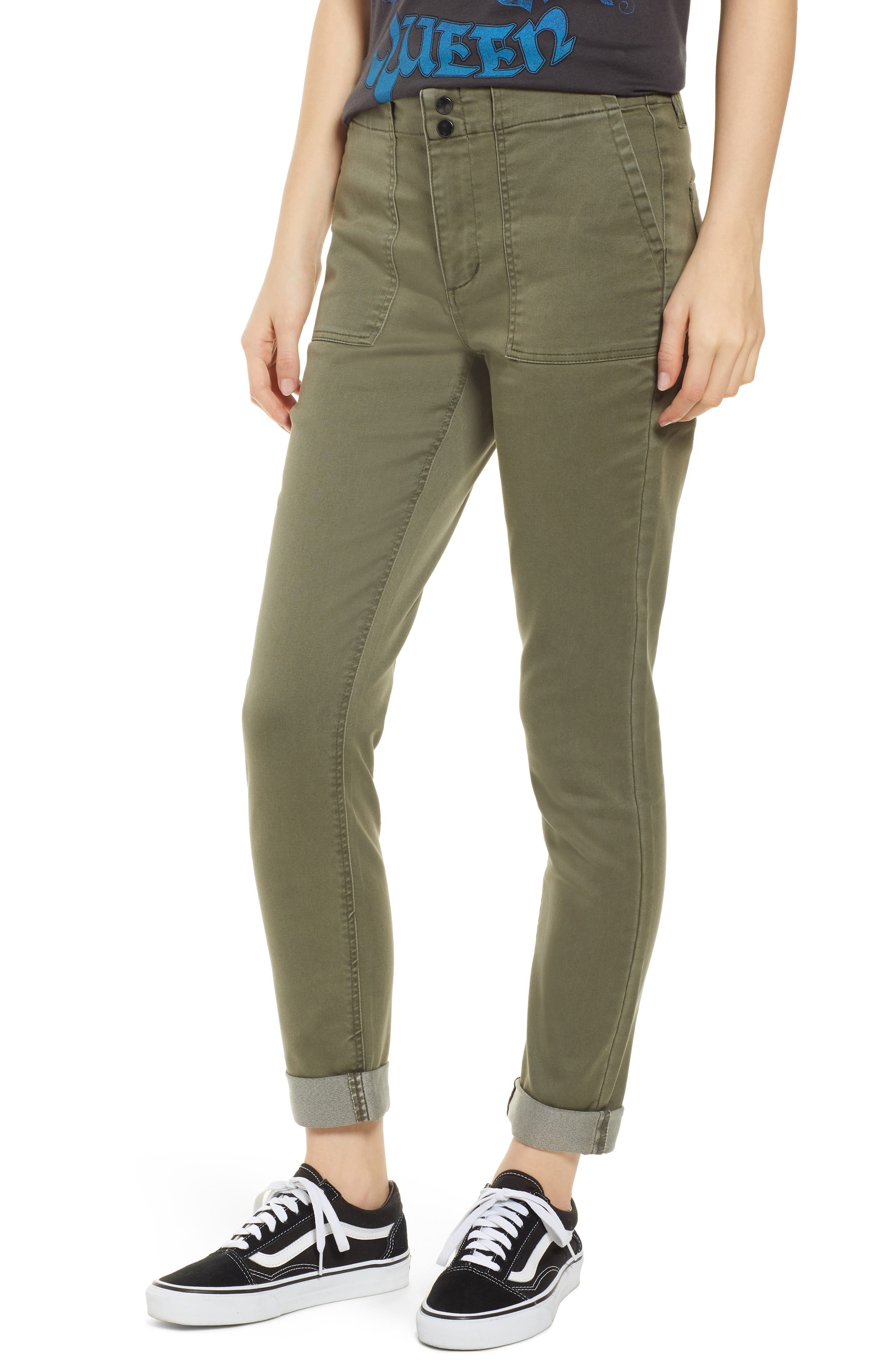 TINSEL, Cuffed Sateen Skinny Pants, Main thumbnail 1, color, DUSTY OLIVE