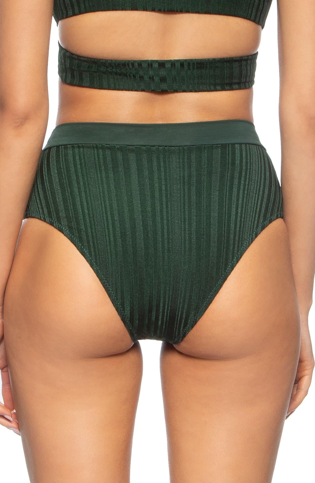 TAVIK, Pernille High Waist Bikini Bottoms, Alternate thumbnail 2, color, PINE GREEN