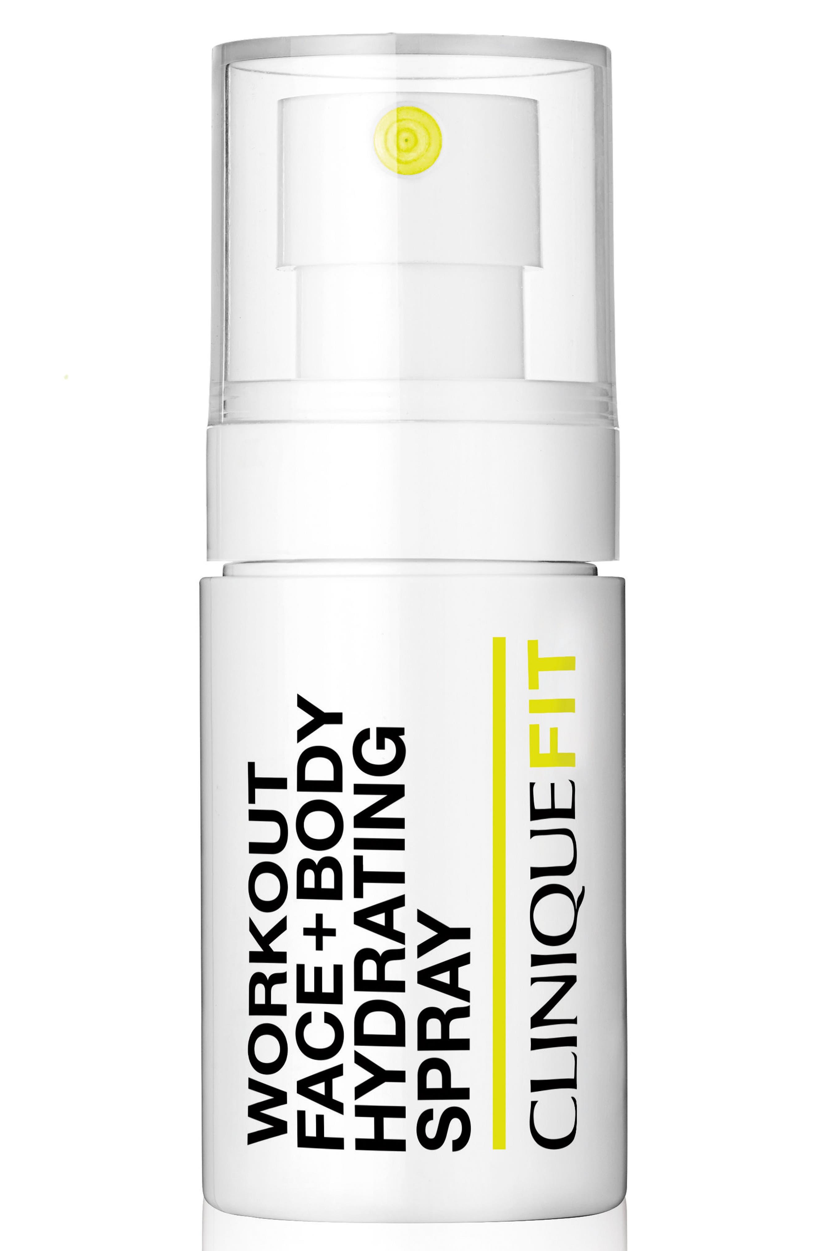 CLINIQUE, CliniqueFIT Workout Face + Body Hydrating Spray, Main thumbnail 1, color, NO COLOR