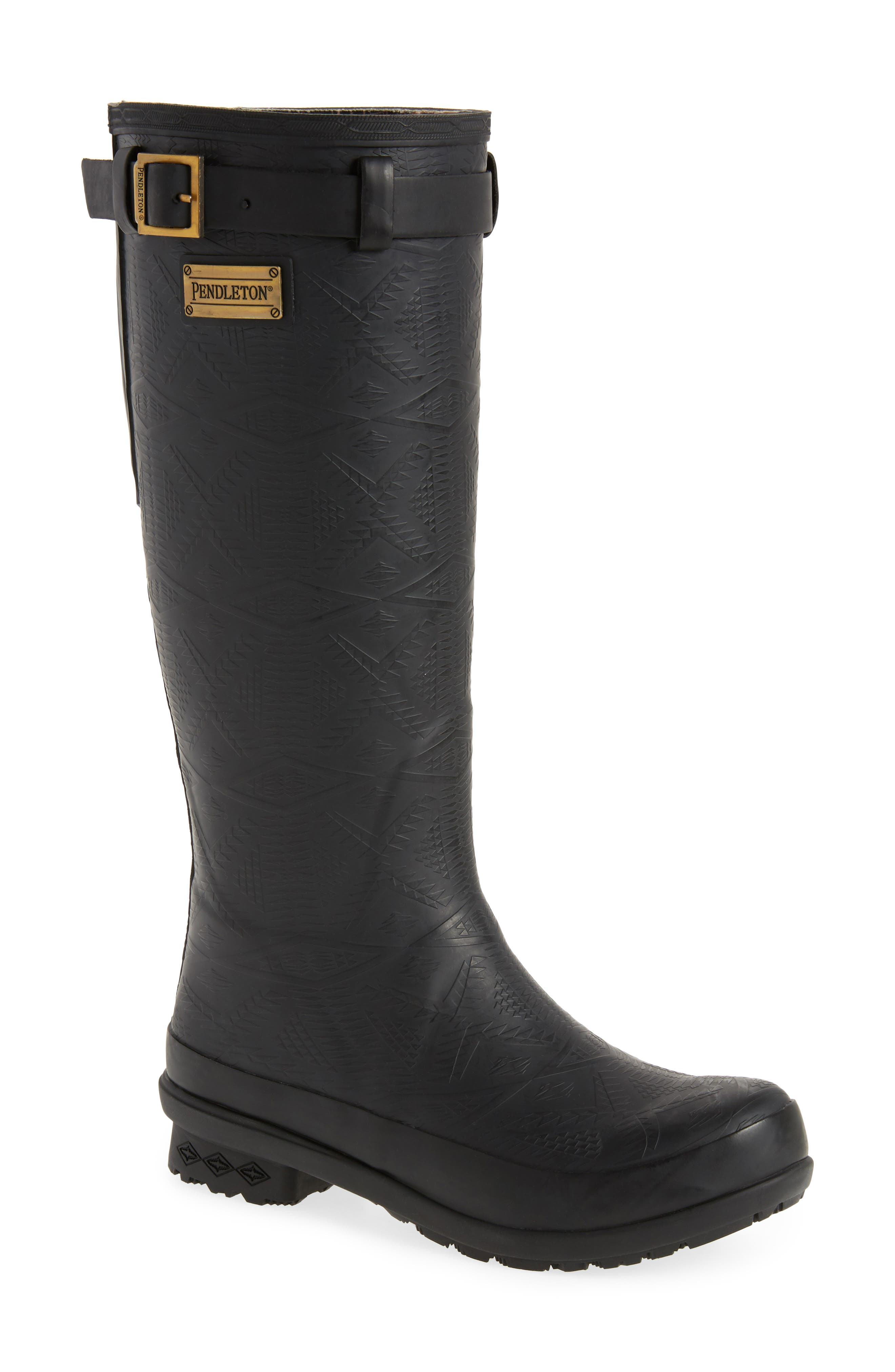 PENDLETON Embossed Tall Waterproof Rain Boot, Main, color, BLACK