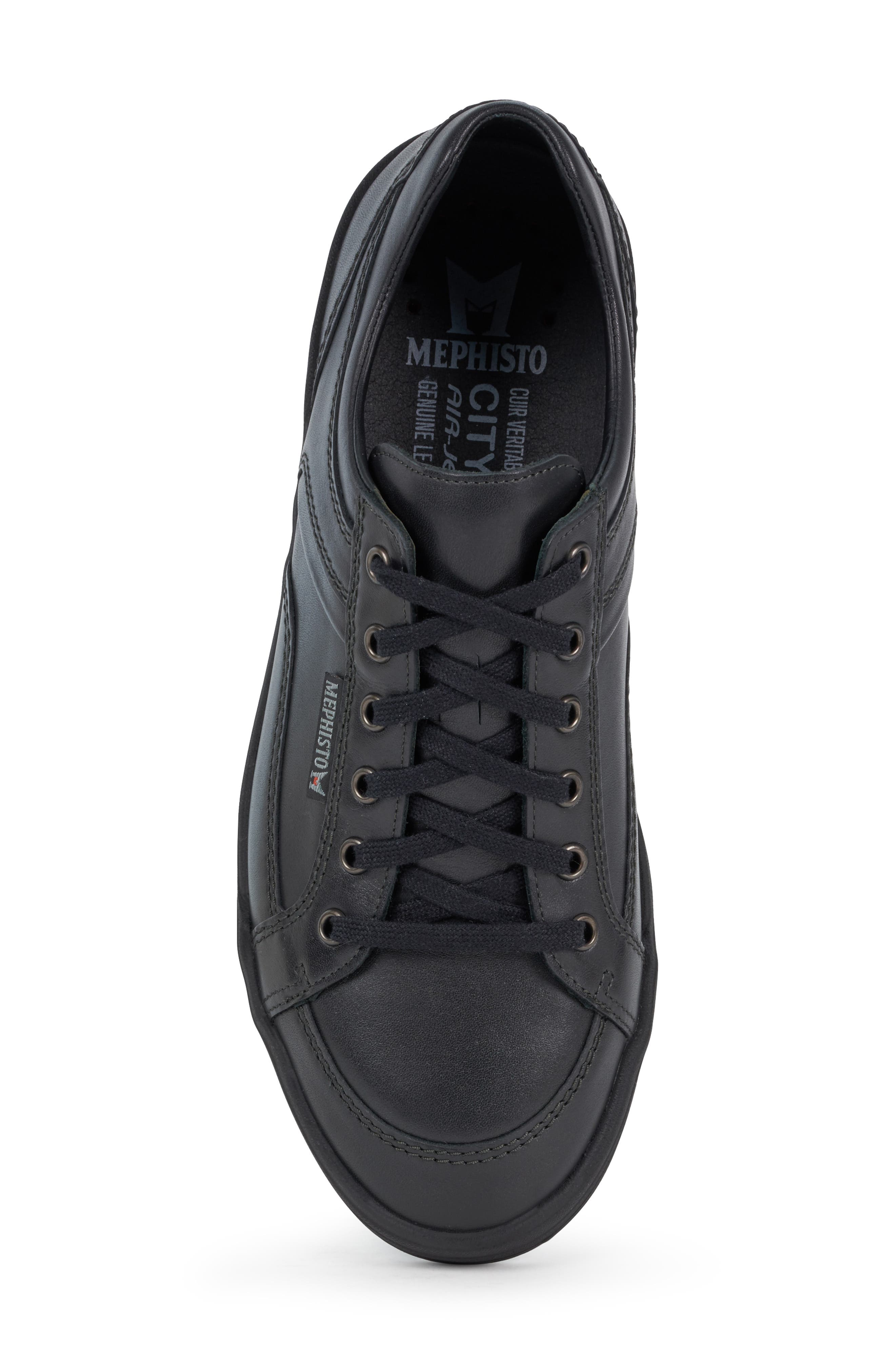 MEPHISTO, 'Rodrigo' Sneaker, Alternate thumbnail 5, color, BLACK/BLACK LEATHER