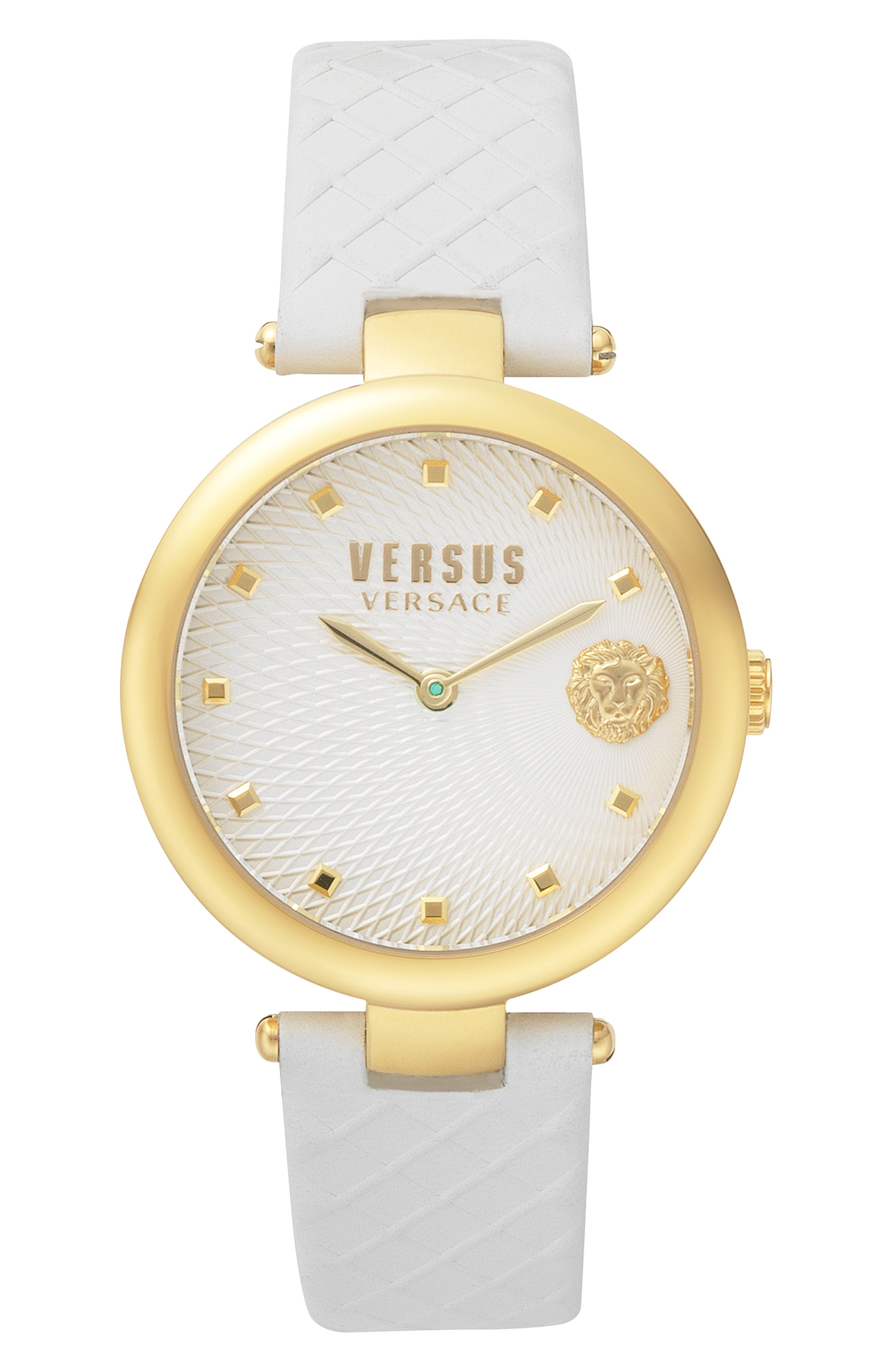 VERSUS VERSACE, Buffle Bay Leather Strap Watch, 36mm, Main thumbnail 1, color, WHITE/ GOLD
