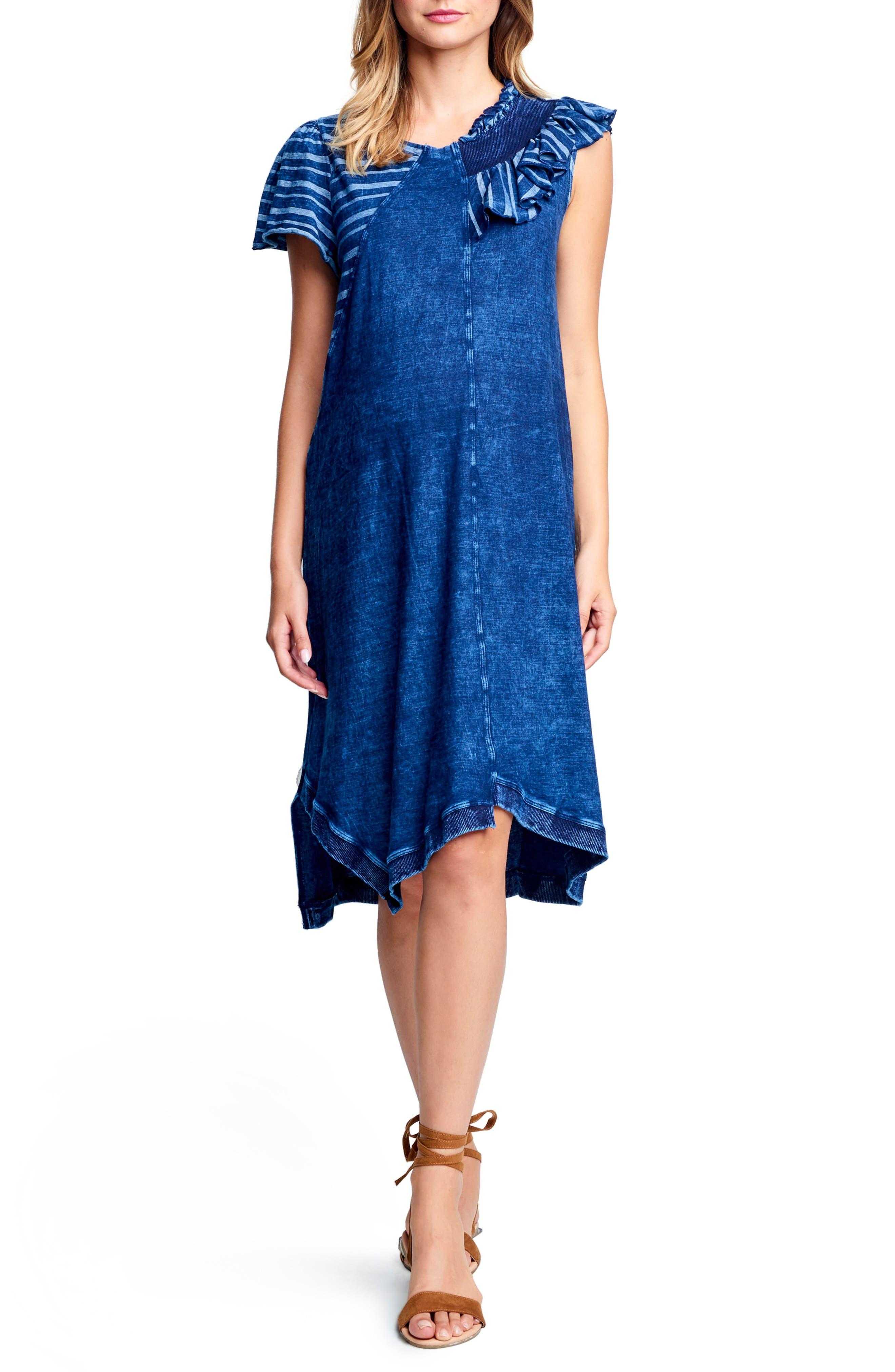 MATERNAL AMERICA Asymmetrical Ruffle Neck Maternity Dress, Main, color, STRIPE INDIGO