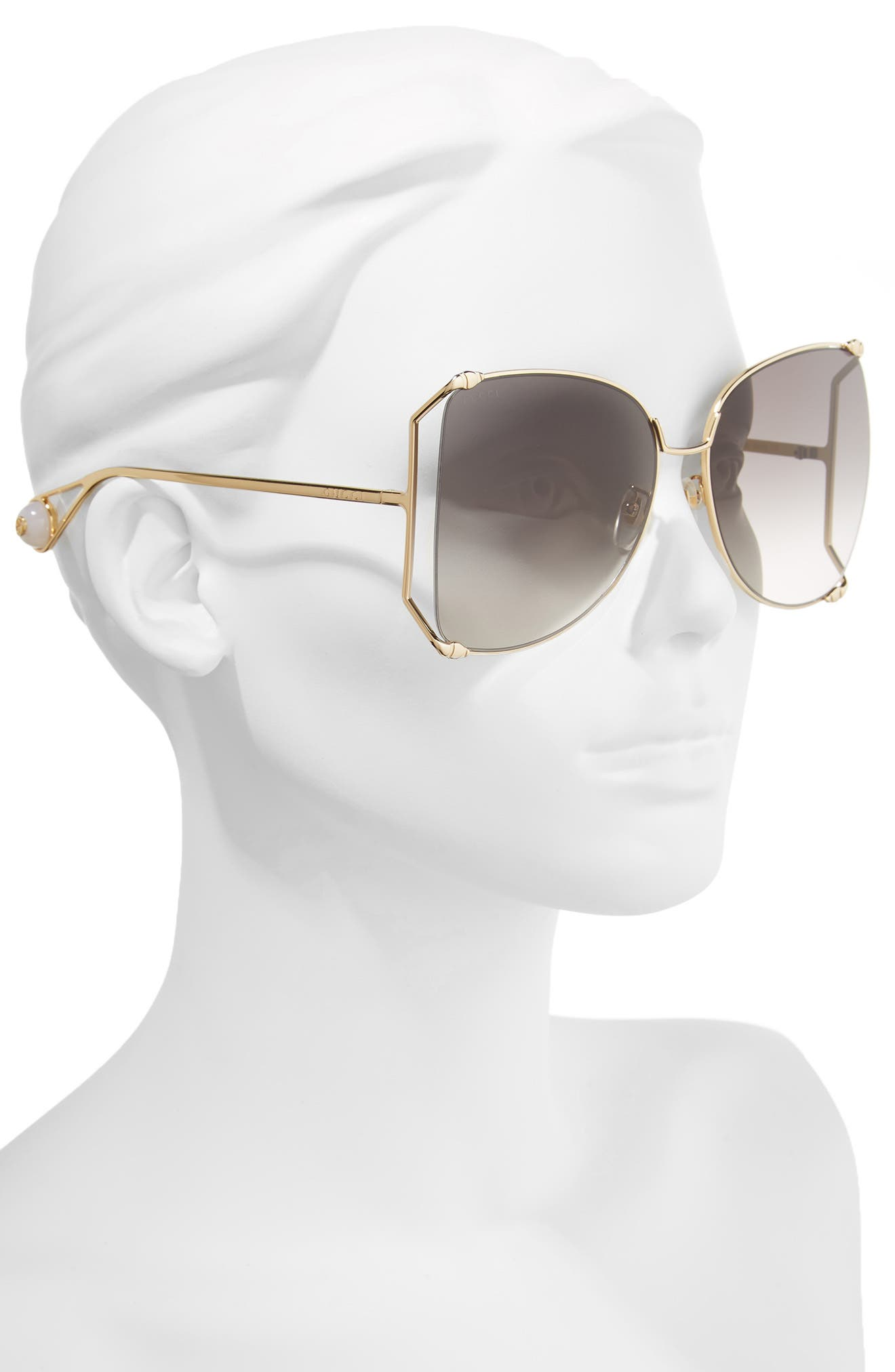 GUCCI, 63mm Gradient Oversize Butterfly Sunglasses, Alternate thumbnail 2, color, GOLD/ GRADIENT GREY