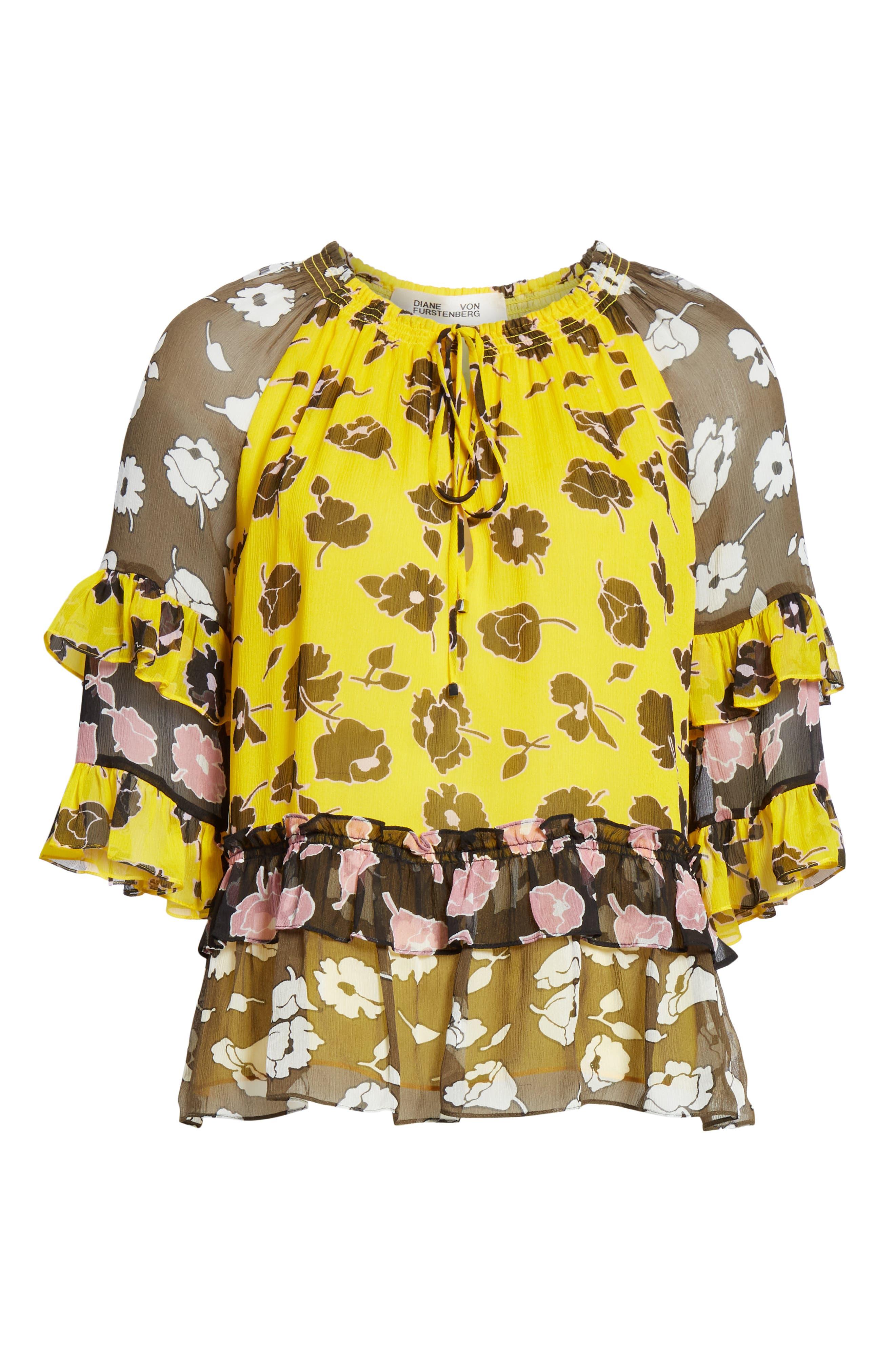 DVF, Annabel Silk Top, Alternate thumbnail 6, color, ROSE SHOWERS GOLDENROD MULTI