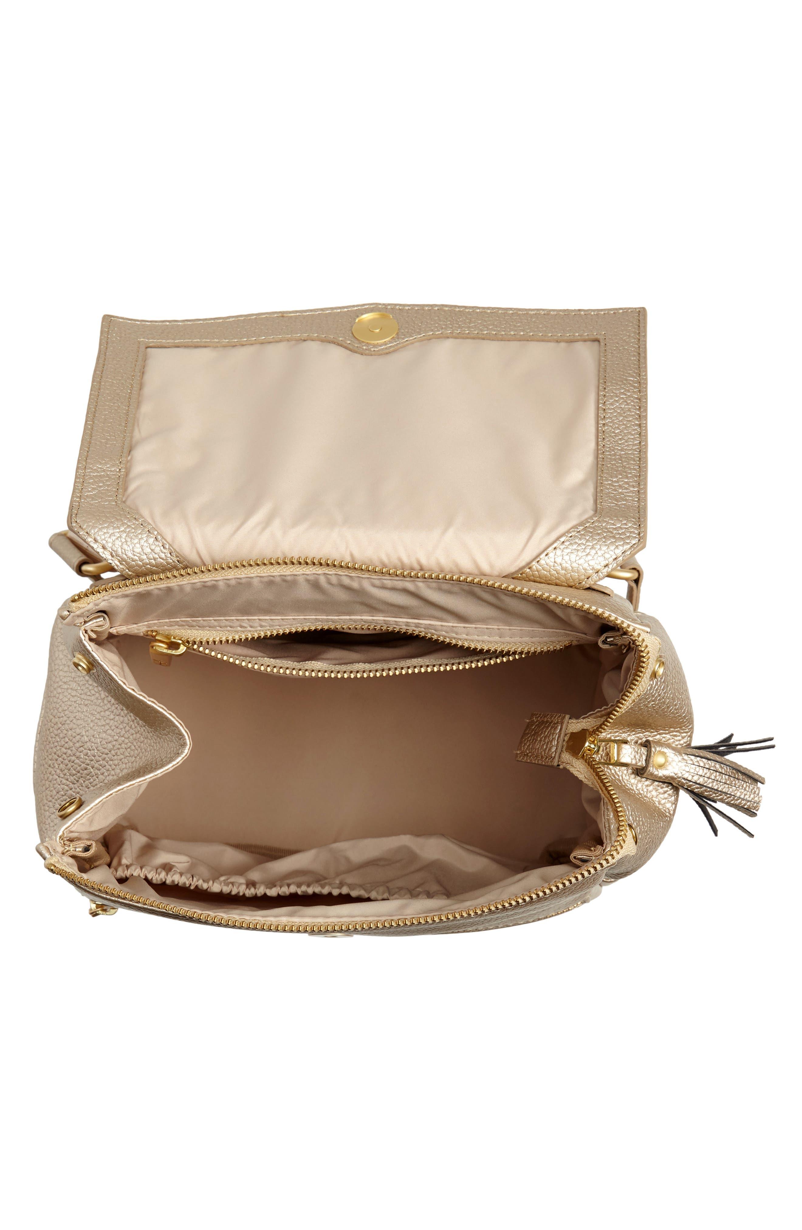 FRESHLY PICKED, Mini Convertible Diaper Bag, Alternate thumbnail 4, color, PLATINUM METALLIC