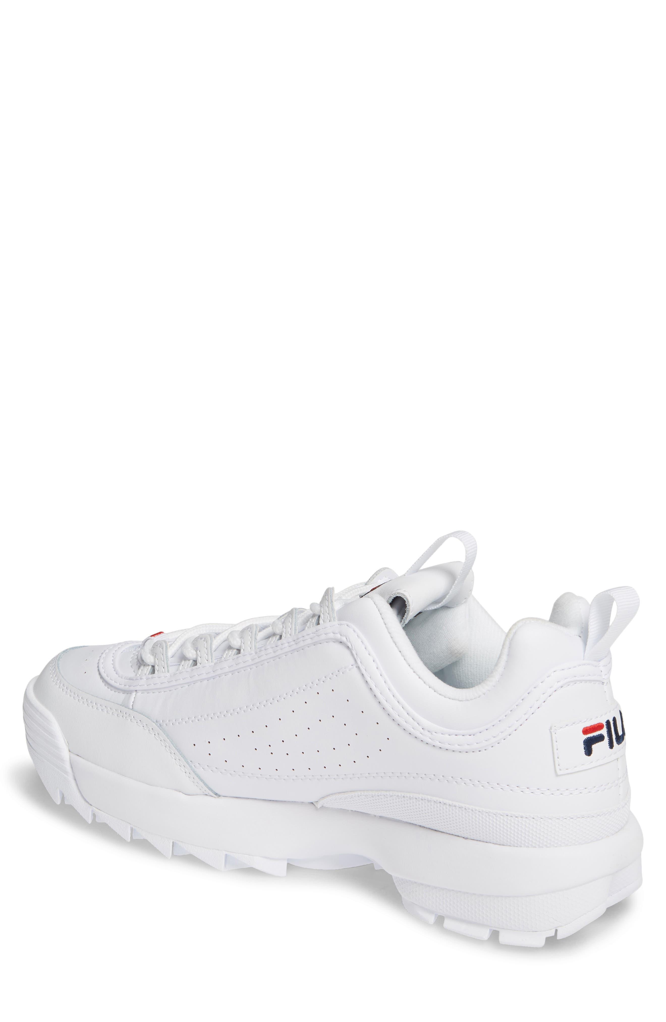 FILA, Disruptor II Premium Sneaker, Alternate thumbnail 2, color, WHITE/ NAVY/ RED