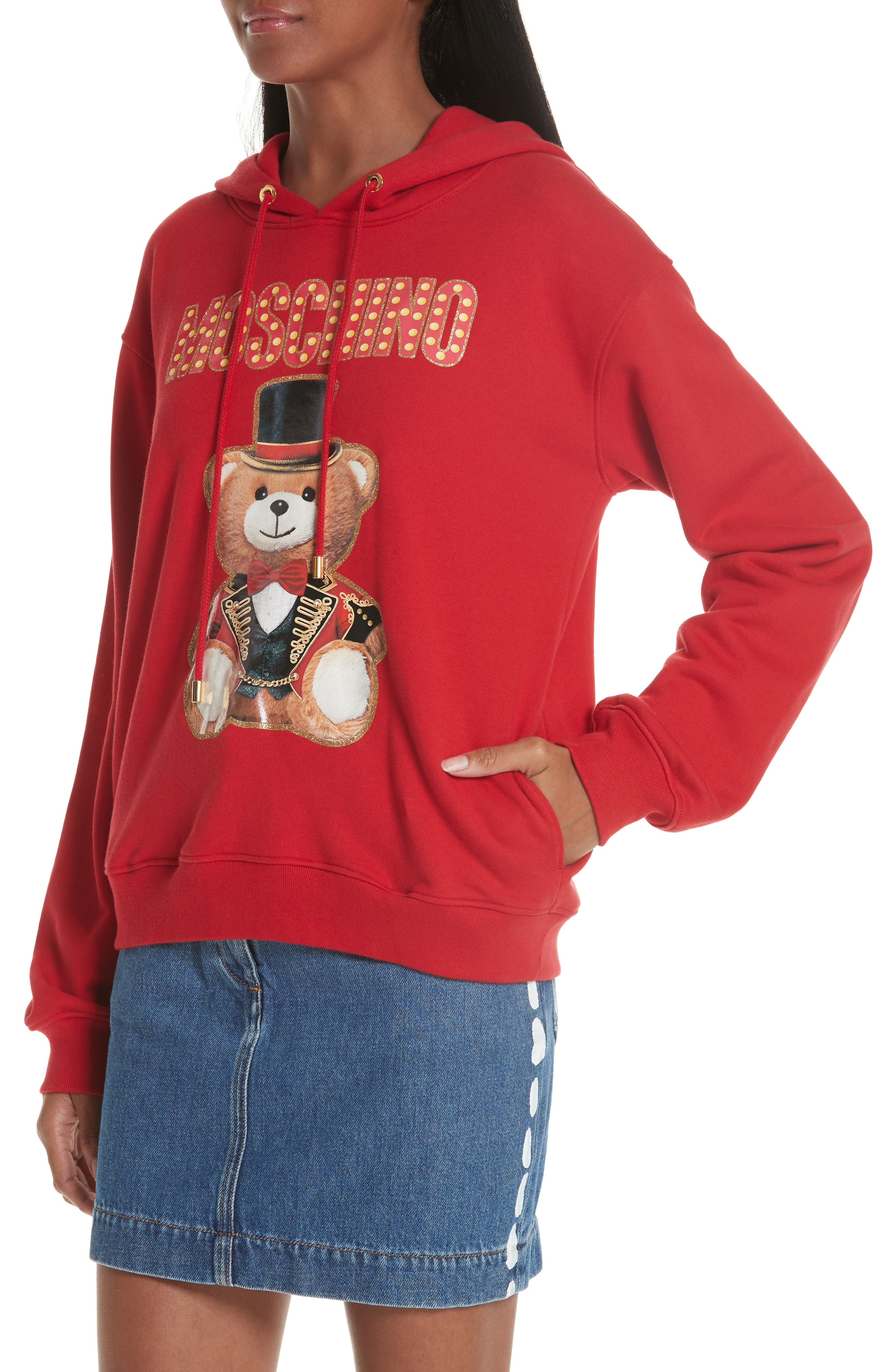 MOSCHINO, Circus Teddy Sweatshirt, Alternate thumbnail 5, color, RED