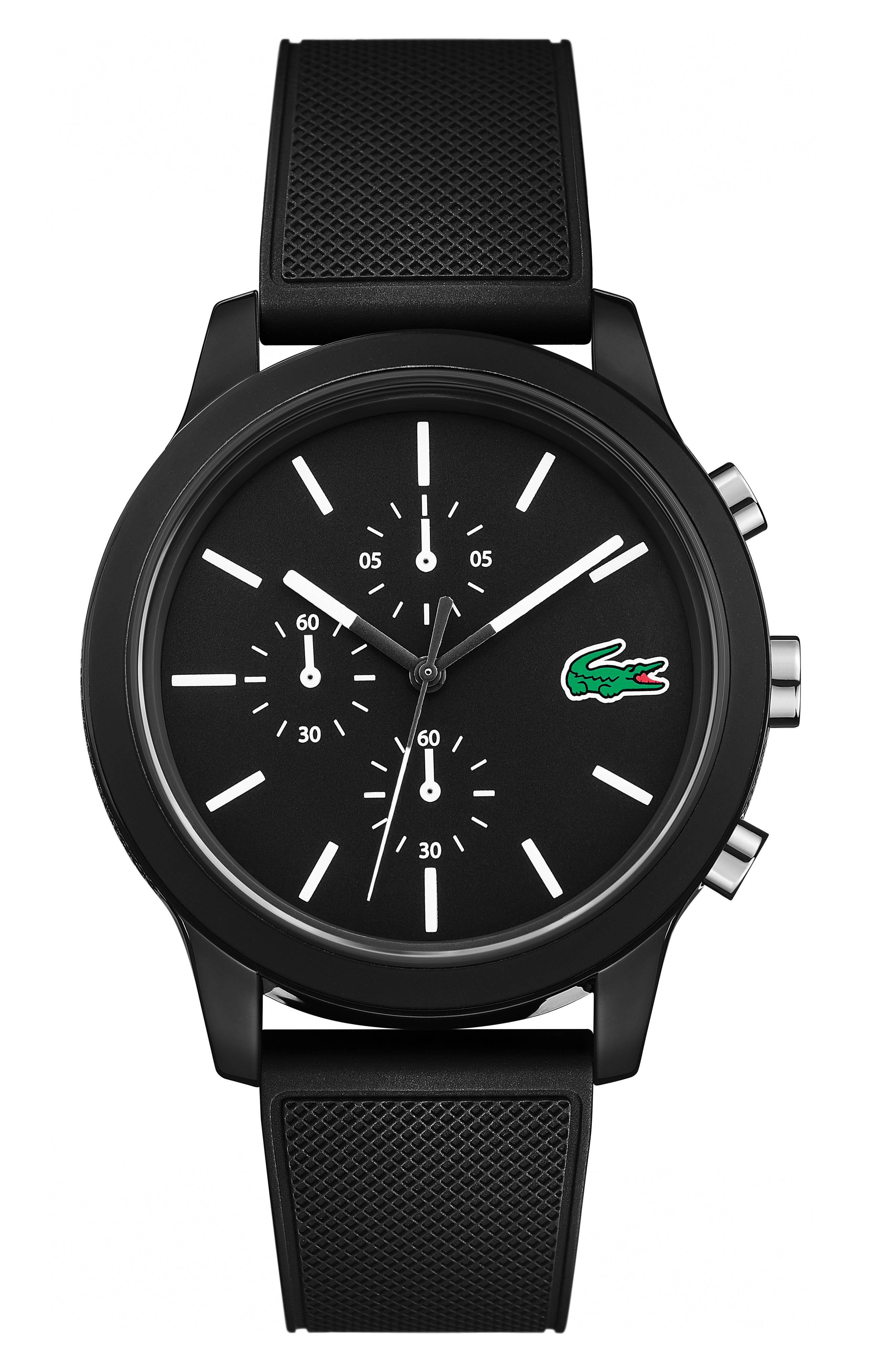 LACOSTE, 12.12 Chronograph Silicone Band Watch, 44mm, Main thumbnail 1, color, BLACK