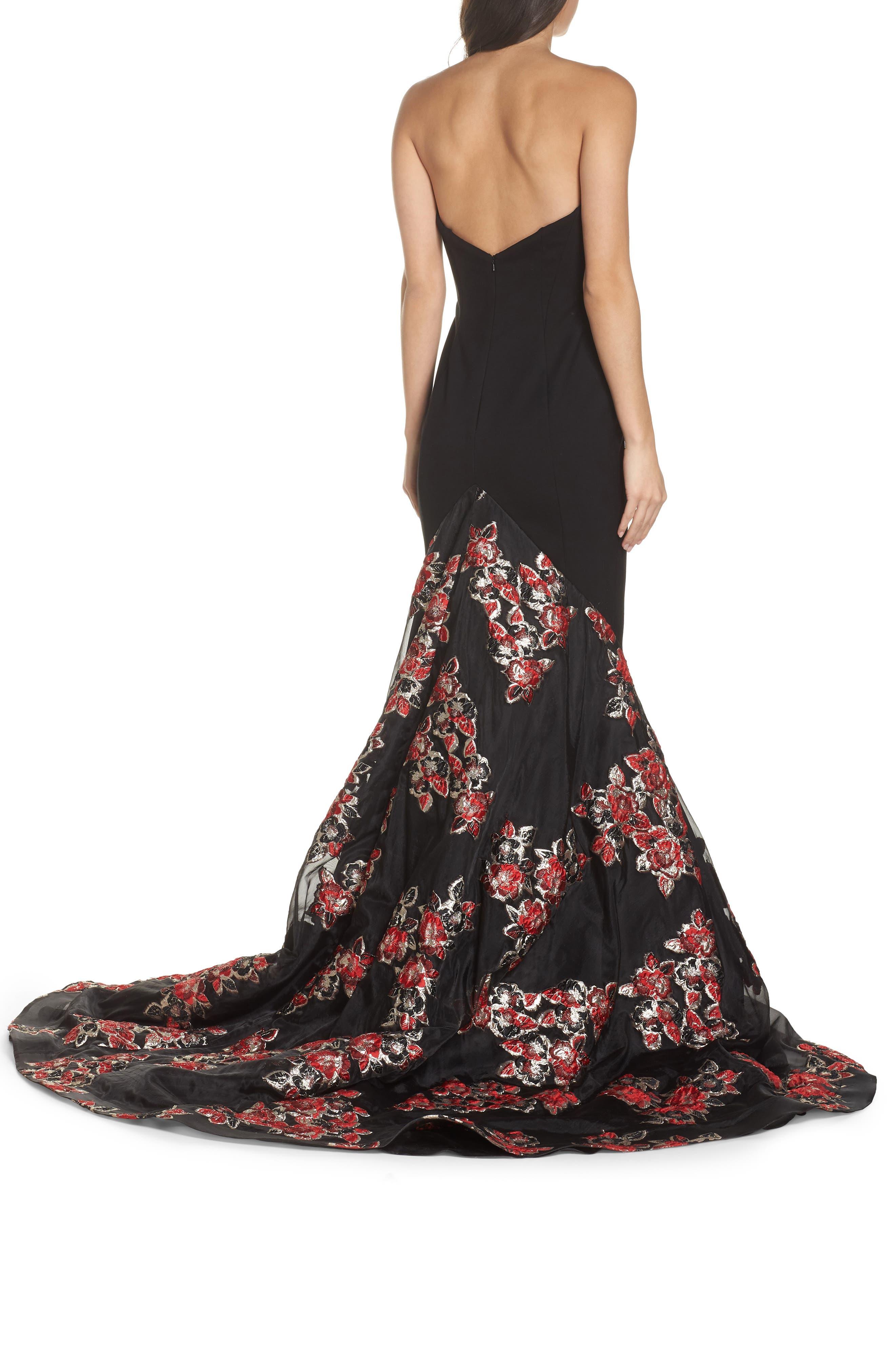 MAC DUGGAL, Plunge Floral Jacquard Mermaid Gown, Alternate thumbnail 2, color, BLACK