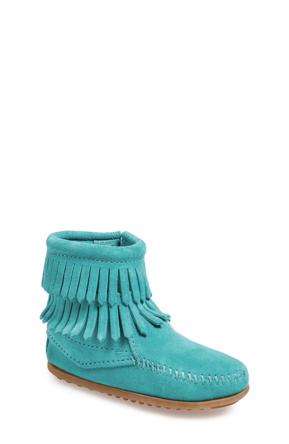 MINNETONKA 'Double Fringe' Boot, Main, color, TURQUOISE